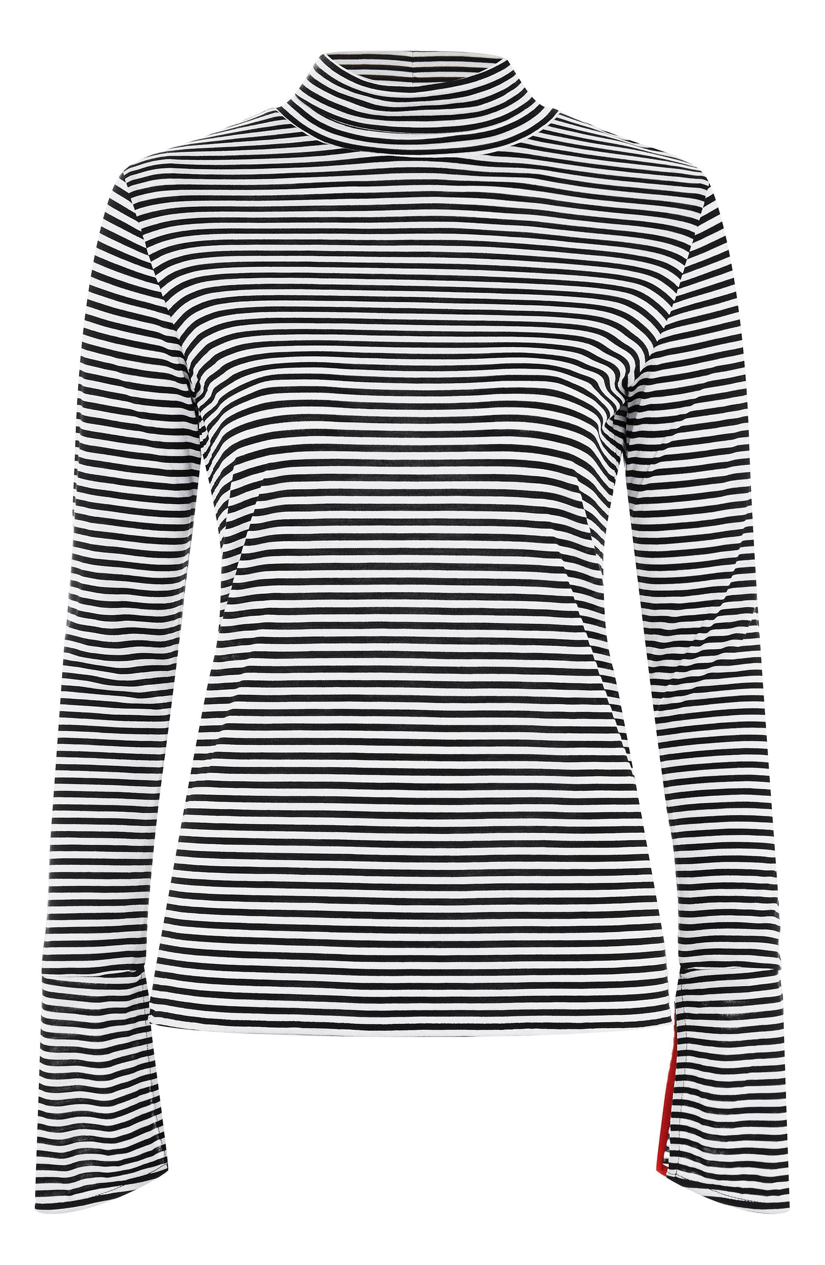 Stripe Slit Cuff Top,                             Main thumbnail 1, color,                             001