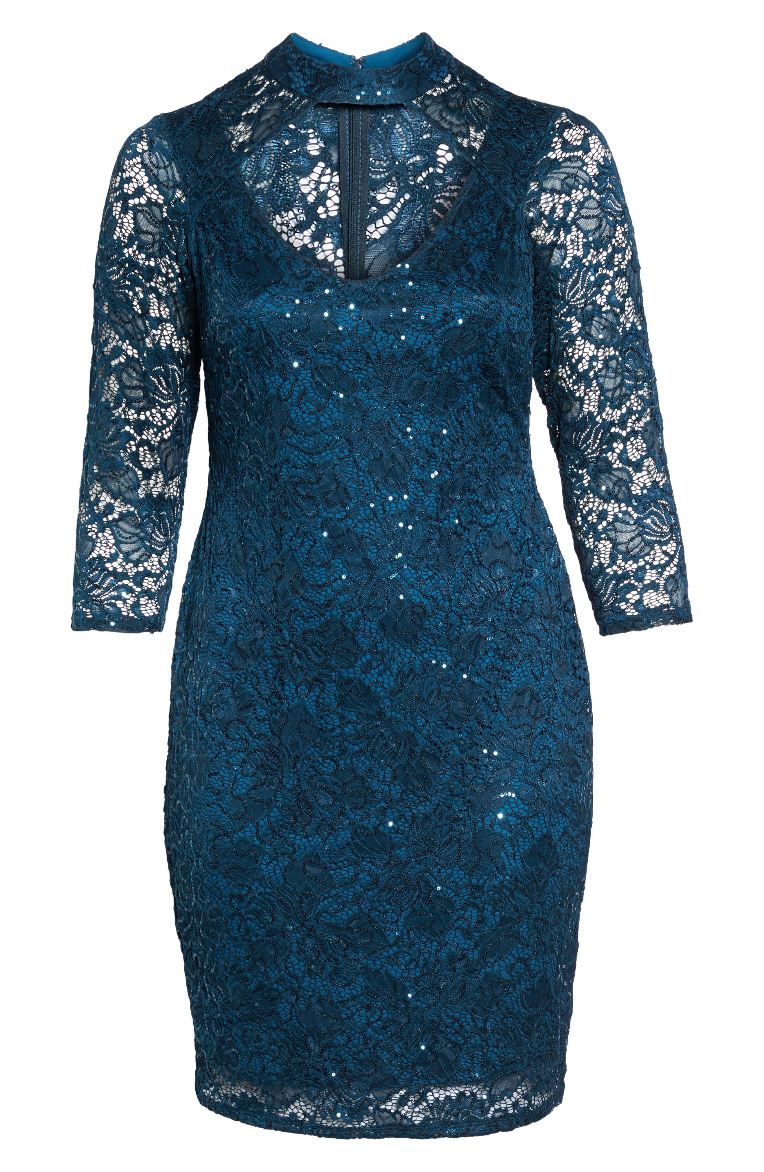 Choker Neck Lace Sheath Dress,                             Alternate thumbnail 6, color,                             300