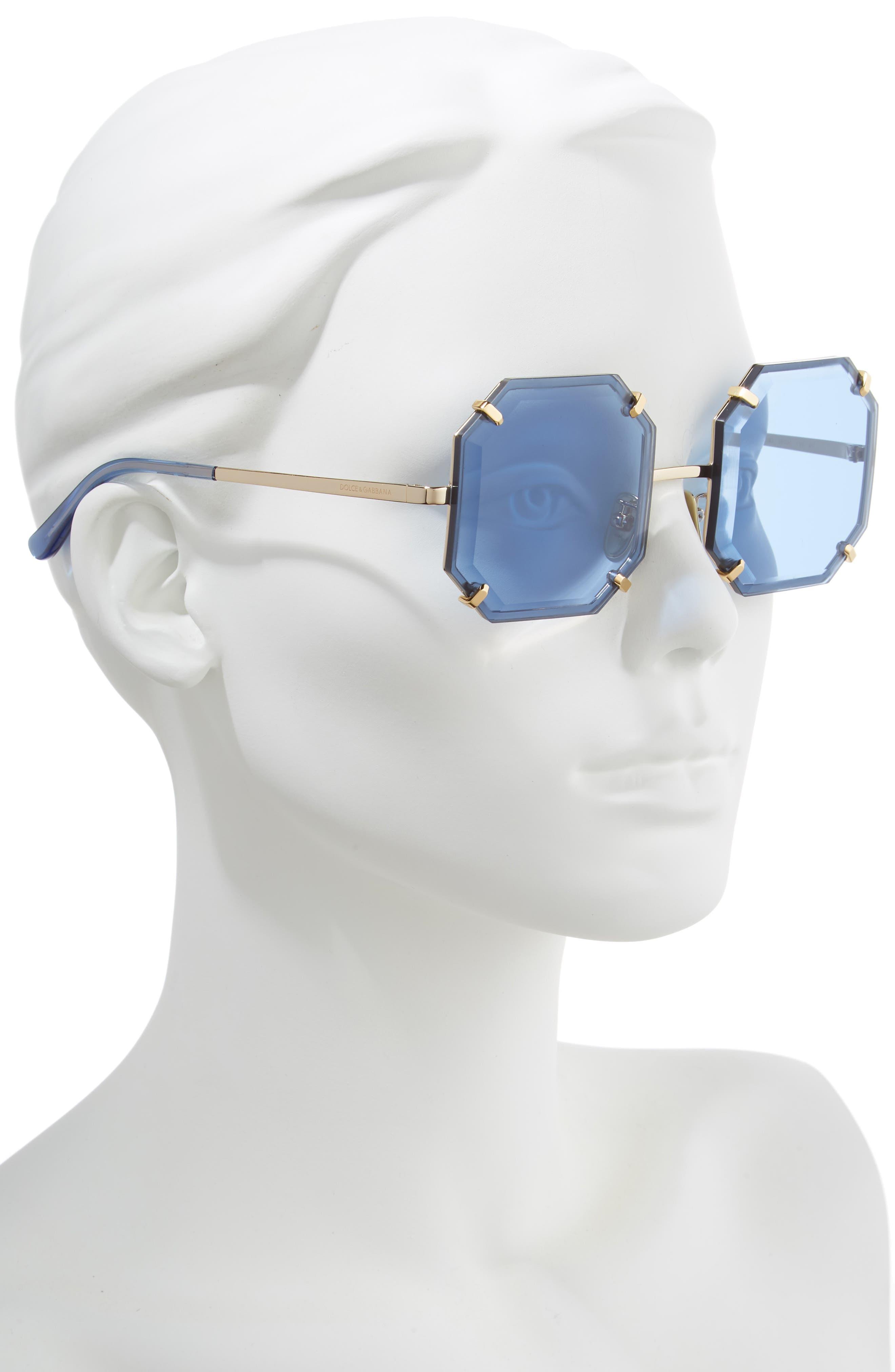 Jewel 55mm Octagonal Sunglasses,                             Alternate thumbnail 2, color,                             SILVER/ BLUE SOLID