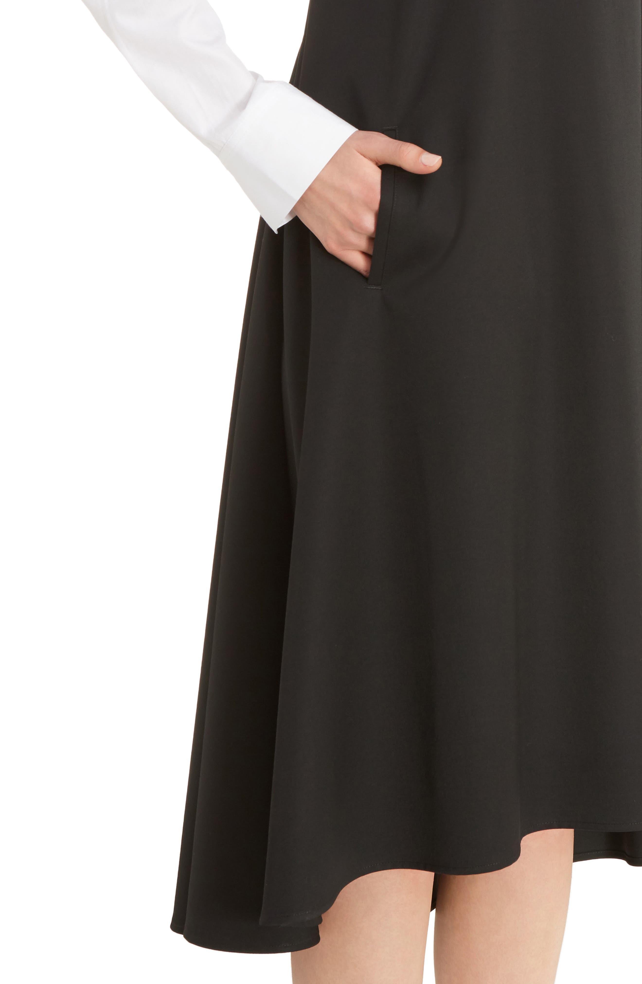 V-Back Sleeveless Wool Dress,                             Alternate thumbnail 4, color,                             001