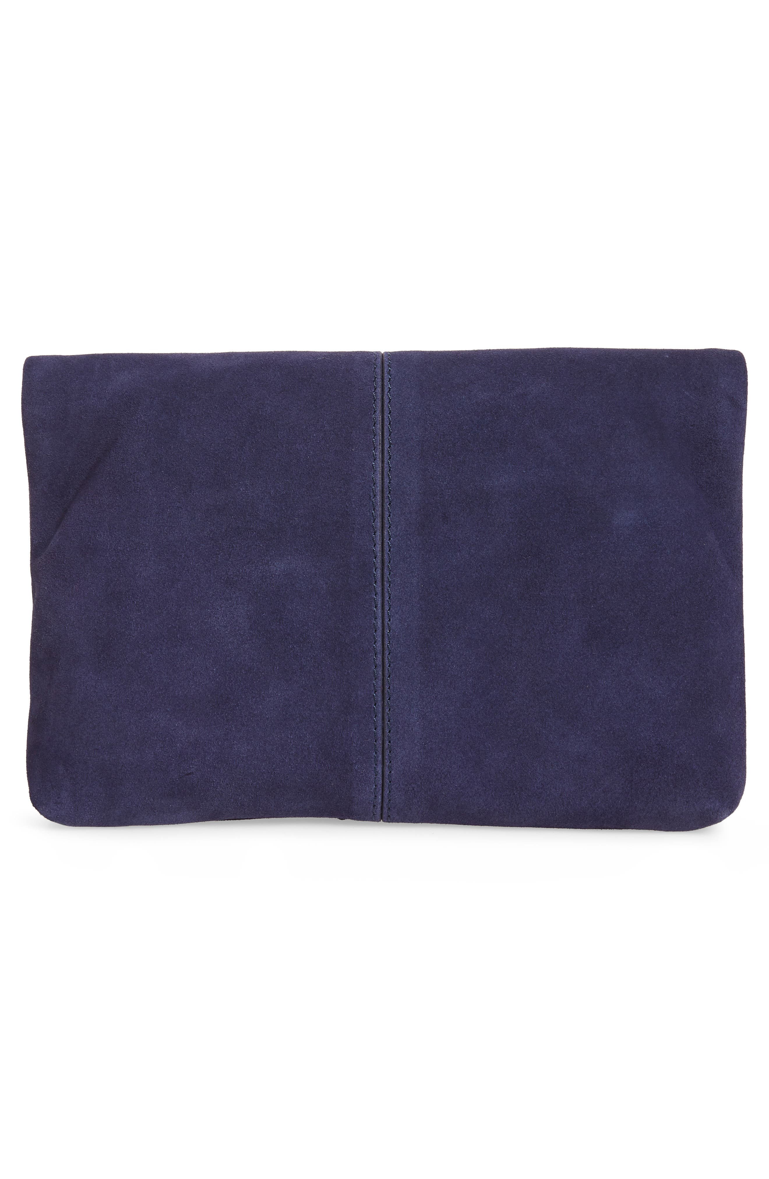 Suede Clutch,                             Alternate thumbnail 3, color,                             NAVY