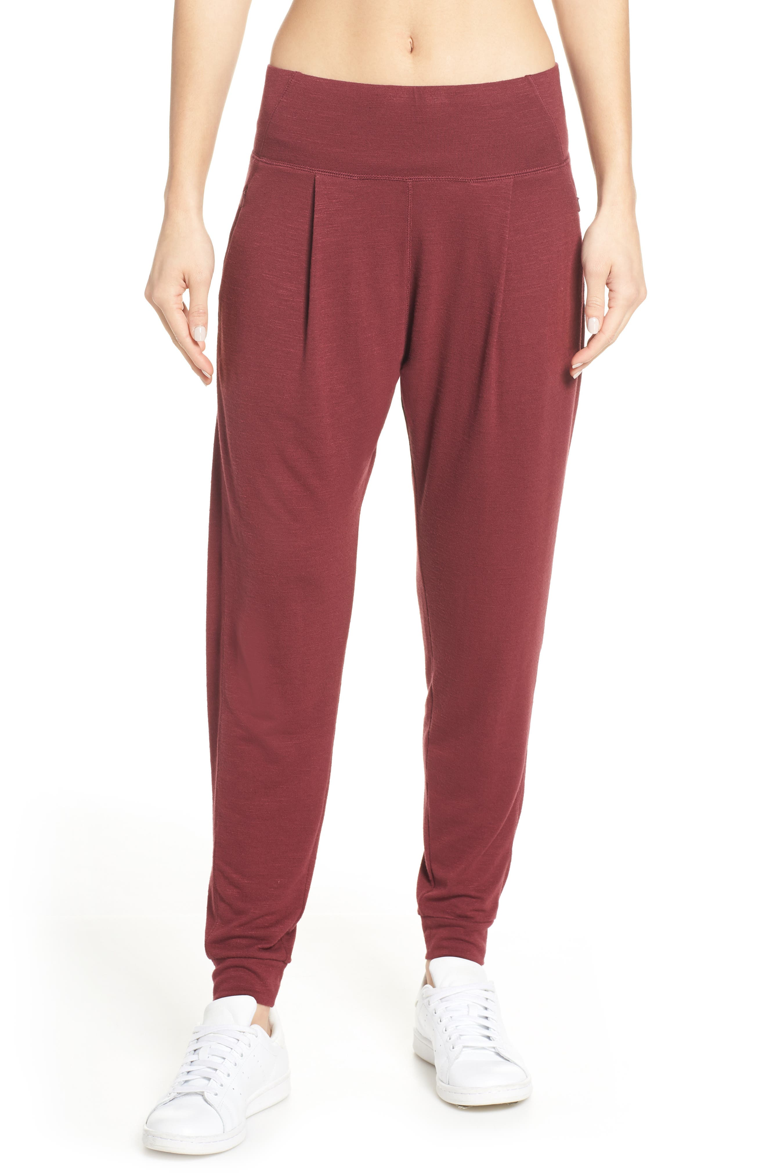 ZELLA,                             Flow with It Ankle Pants,                             Main thumbnail 1, color,                             RED TANNIN
