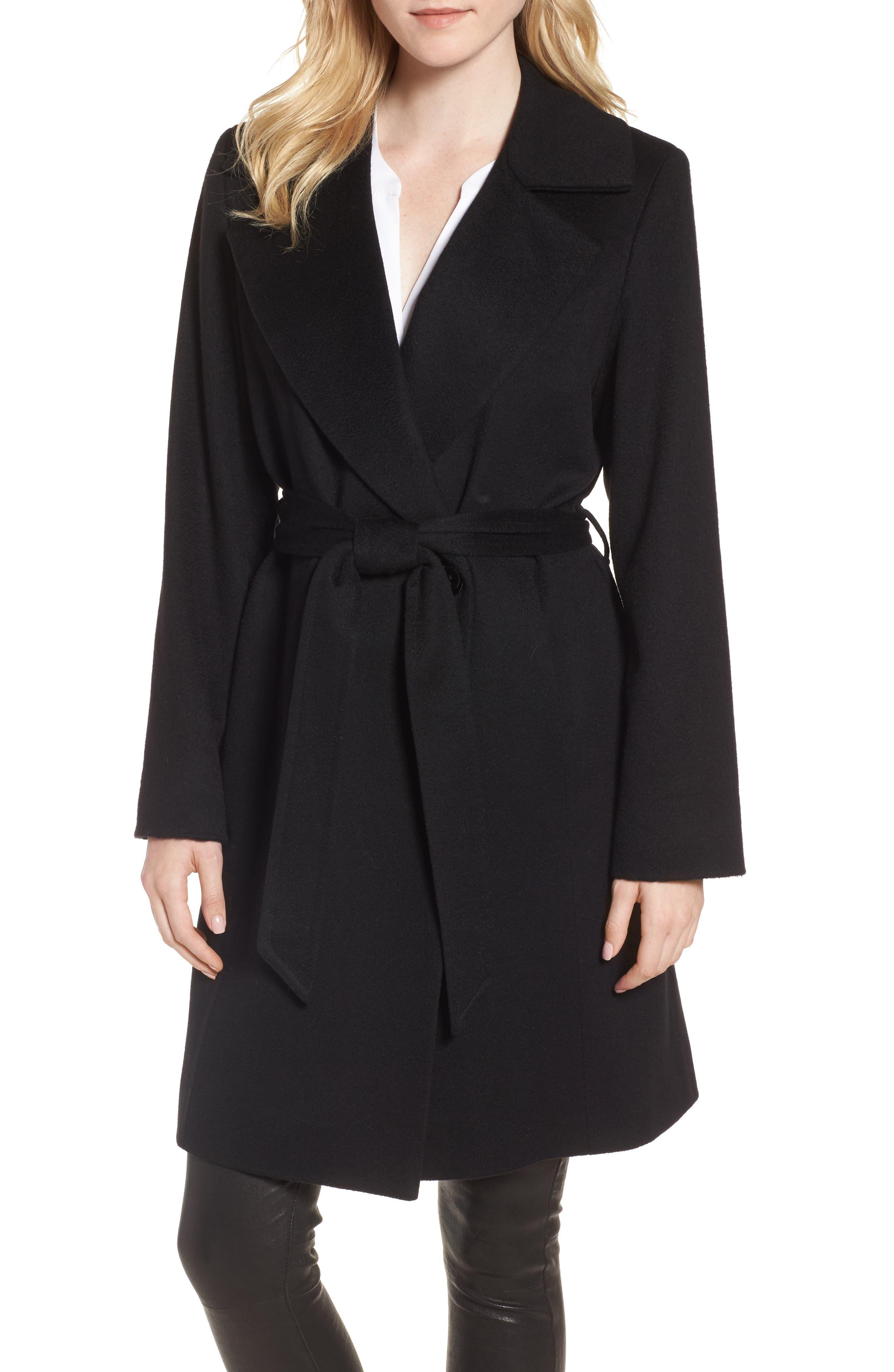 Notch Collar Cashmere Wrap Coat,                         Main,                         color, 001
