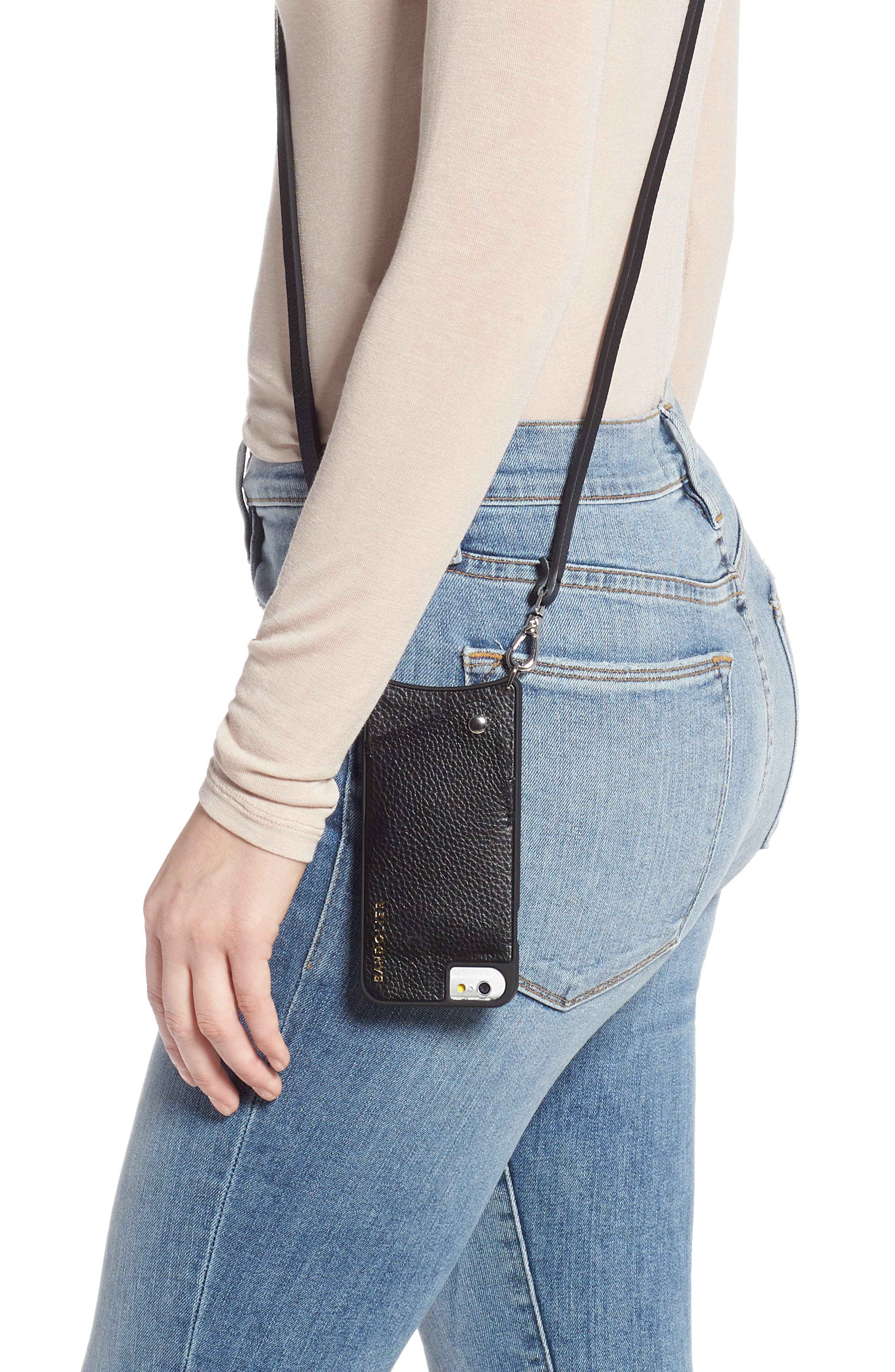 BANDOLIER,                             Emma iPhone X/Xs/Xs Max & XR Crossbody Case,                             Alternate thumbnail 2, color,                             BLACK/ SILVER
