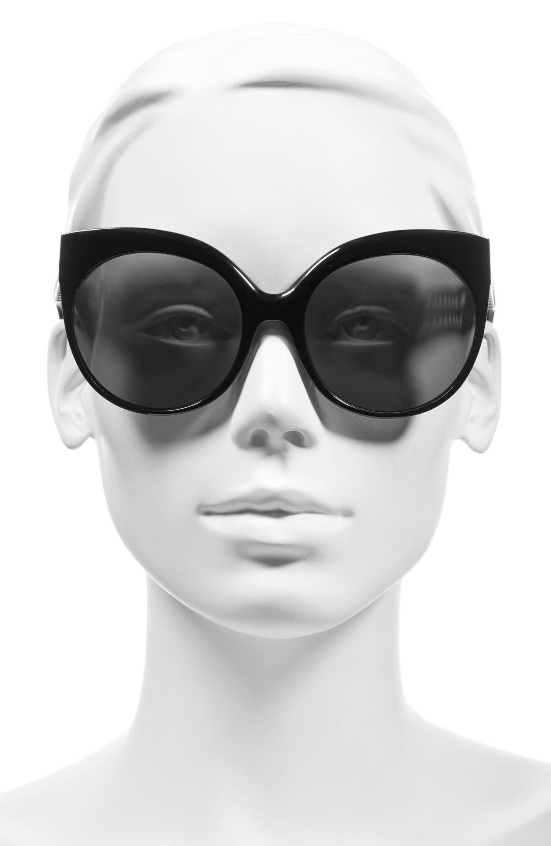 59mm Cat Eye 18 Karat White Gold Trim Sunglasses,                             Alternate thumbnail 2, color,
