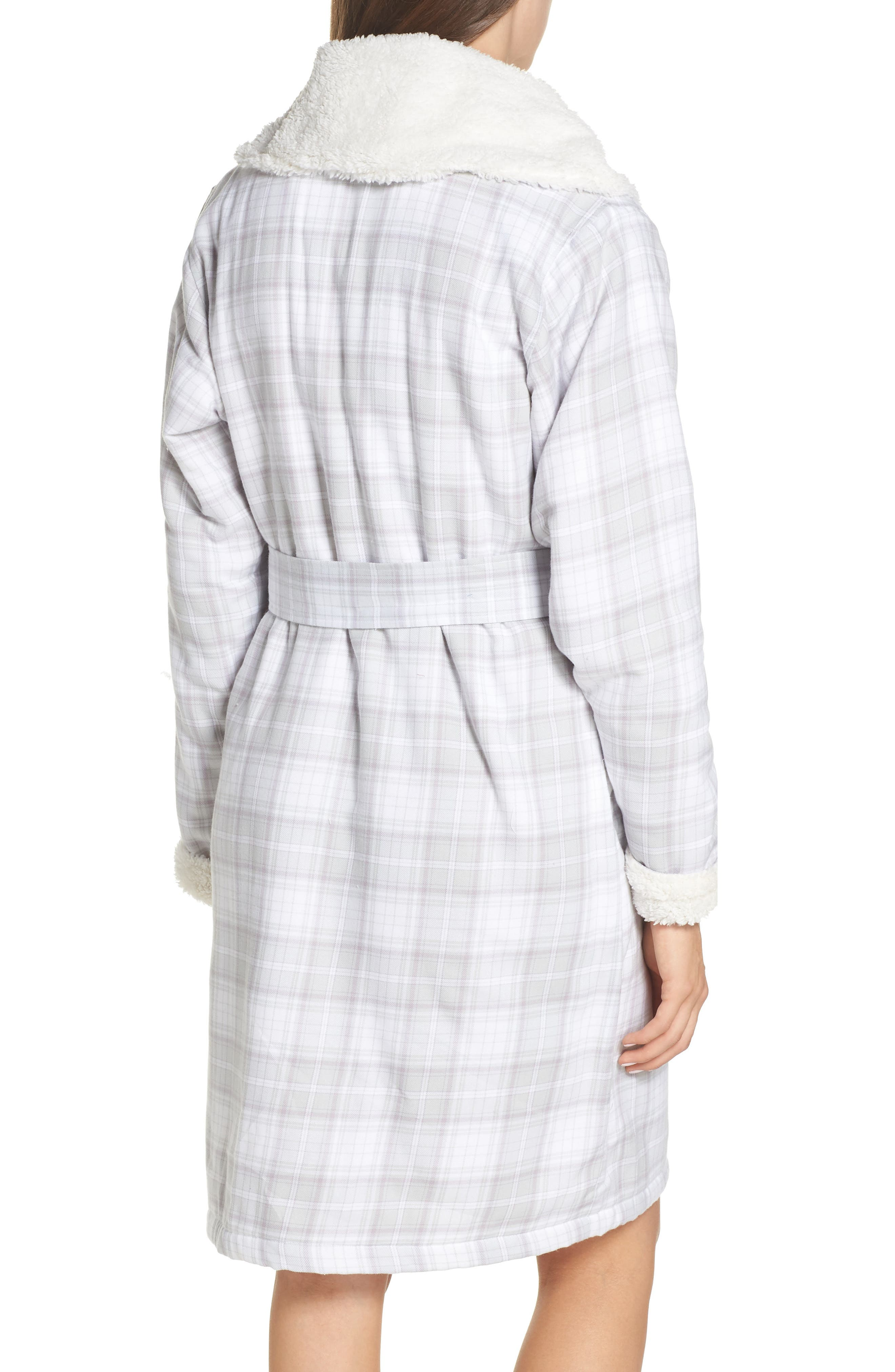 Anika Fleece Lined Flannel Robe,                             Alternate thumbnail 2, color,                             LAVENDER AURA PLAID