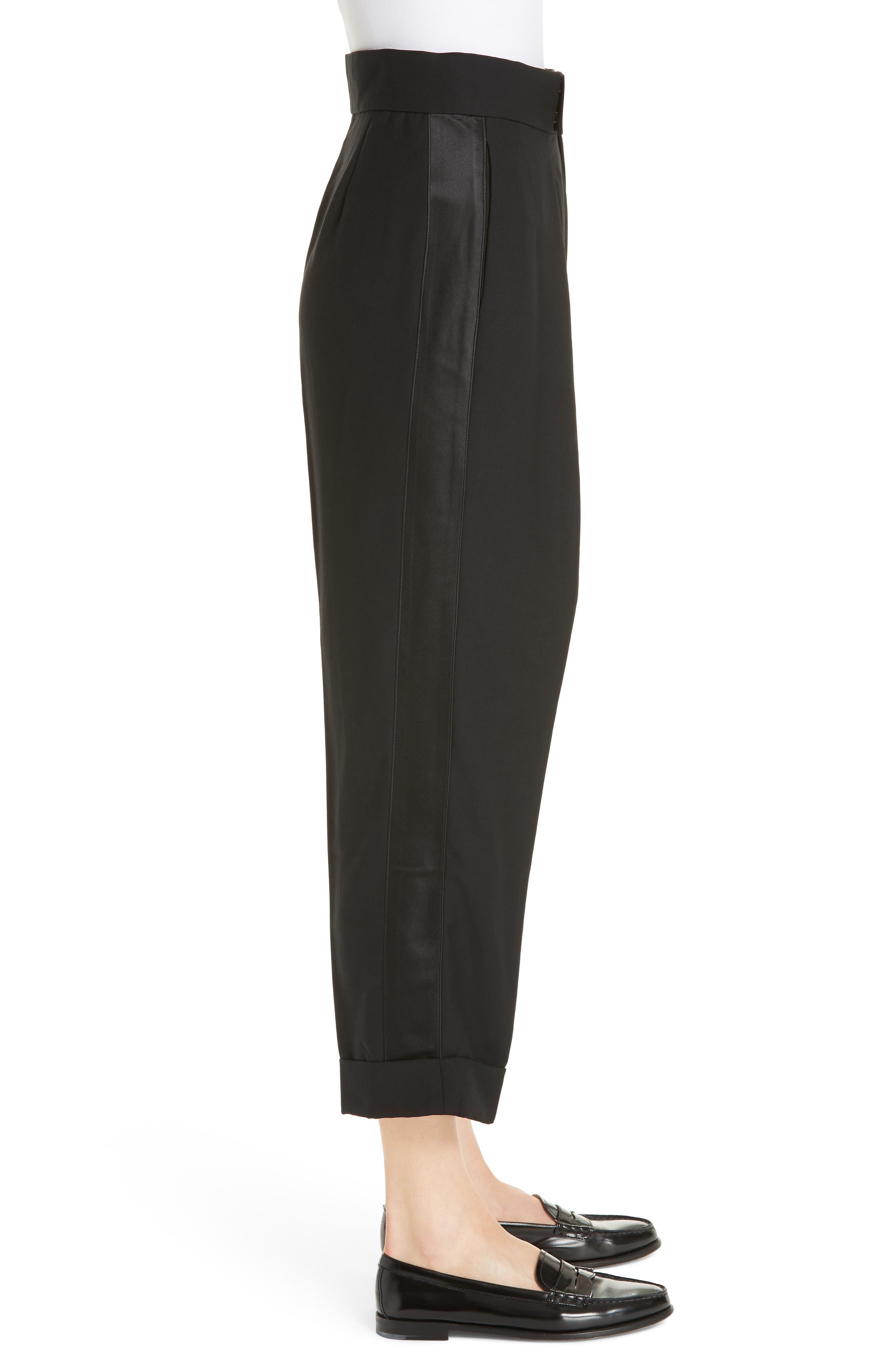 Satin Stripe Wool Crop Pants,                             Alternate thumbnail 3, color,                             POLO BLACK