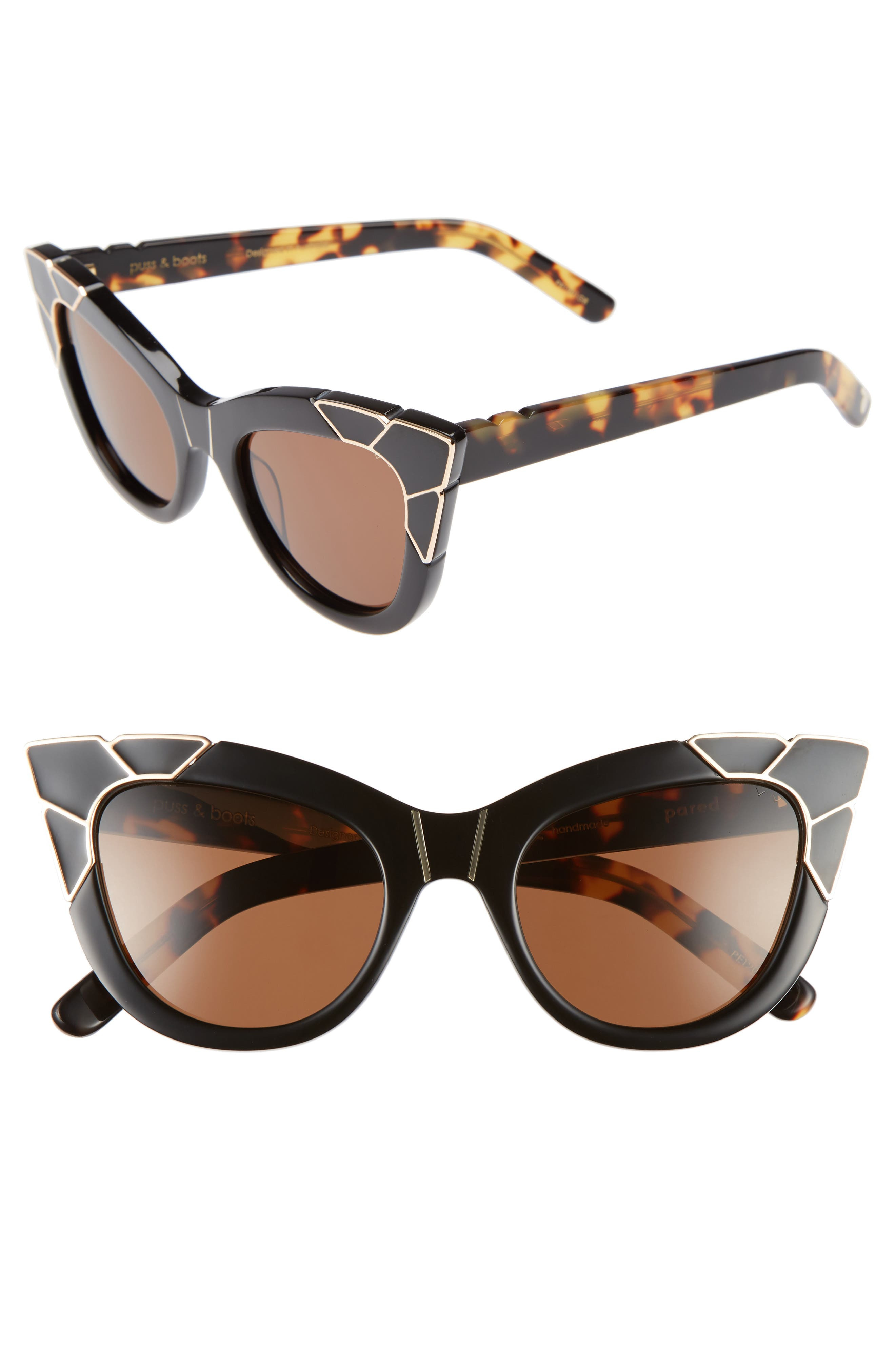 Puss & Boots 49mm Cat Eye Sunglasses,                         Main,                         color, BLACK/ GOLD/ BLACK BROWN