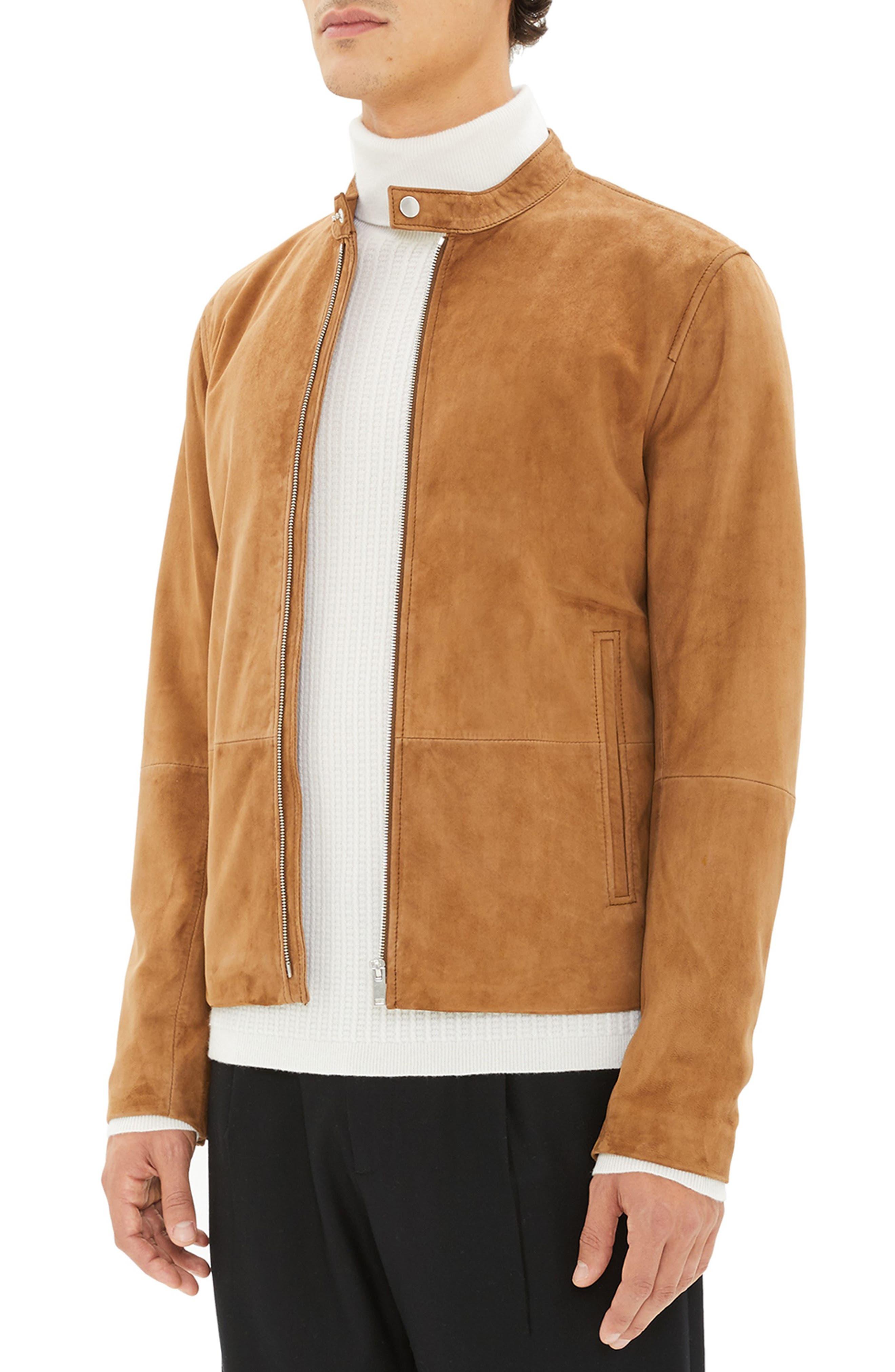 Wynwood Radic Leather Jacket,                             Alternate thumbnail 3, color,                             SANDSTORM