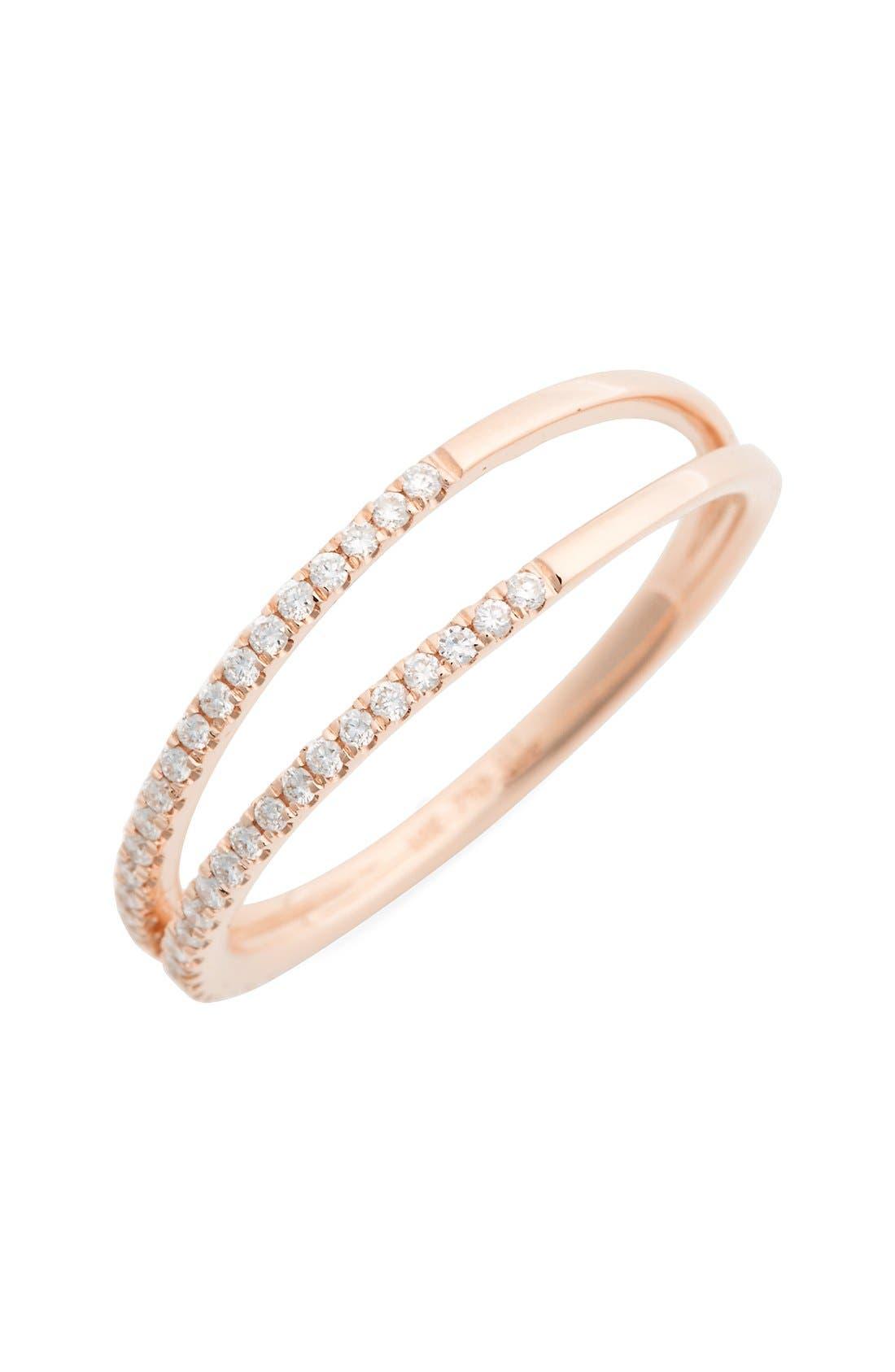 Diamond Two Row Ring,                             Main thumbnail 3, color,