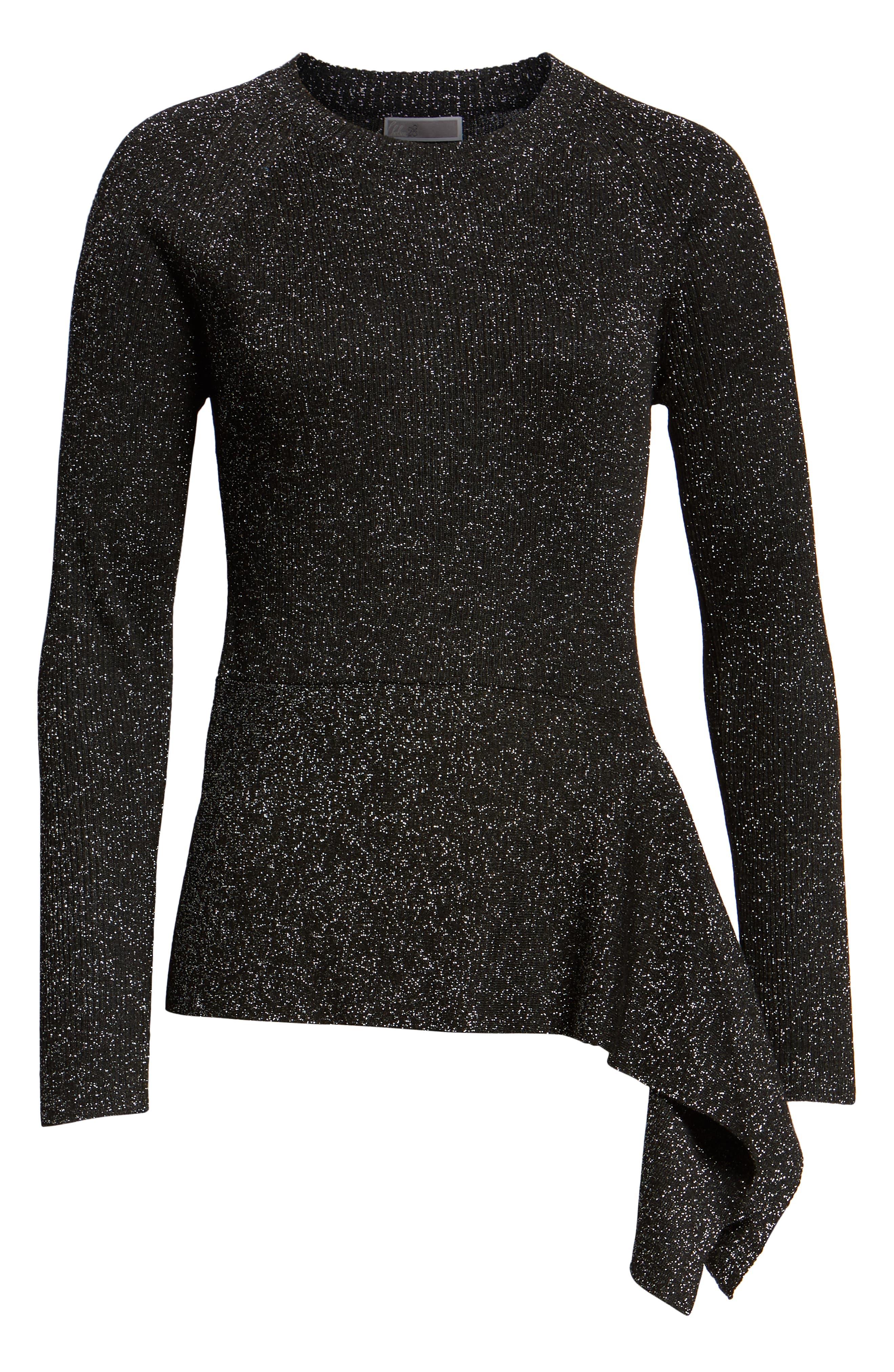 Drape Waist Sweater,                             Alternate thumbnail 6, color,                             BLACK- SILVER SPANGLE METALLIC