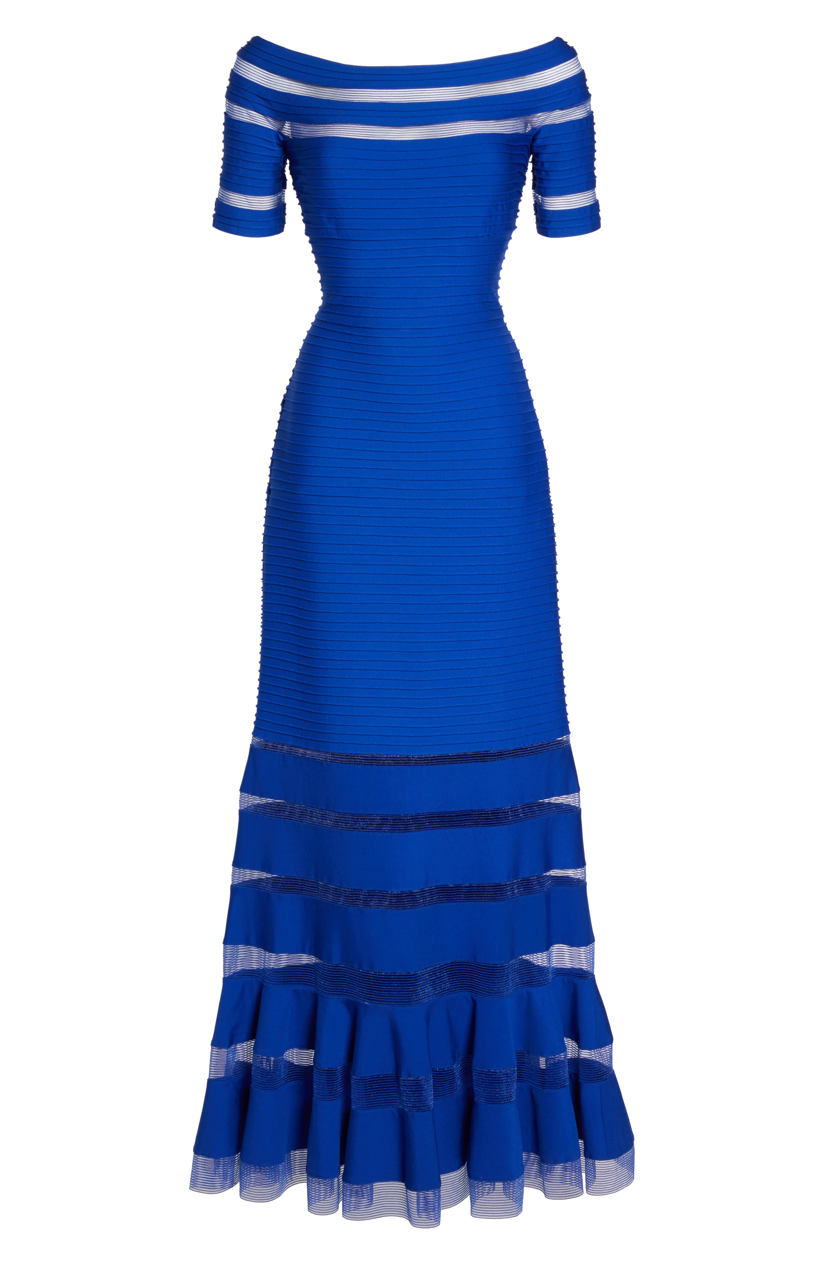 Pintuck Jersey Off the Shoulder Gown,                             Alternate thumbnail 6, color,