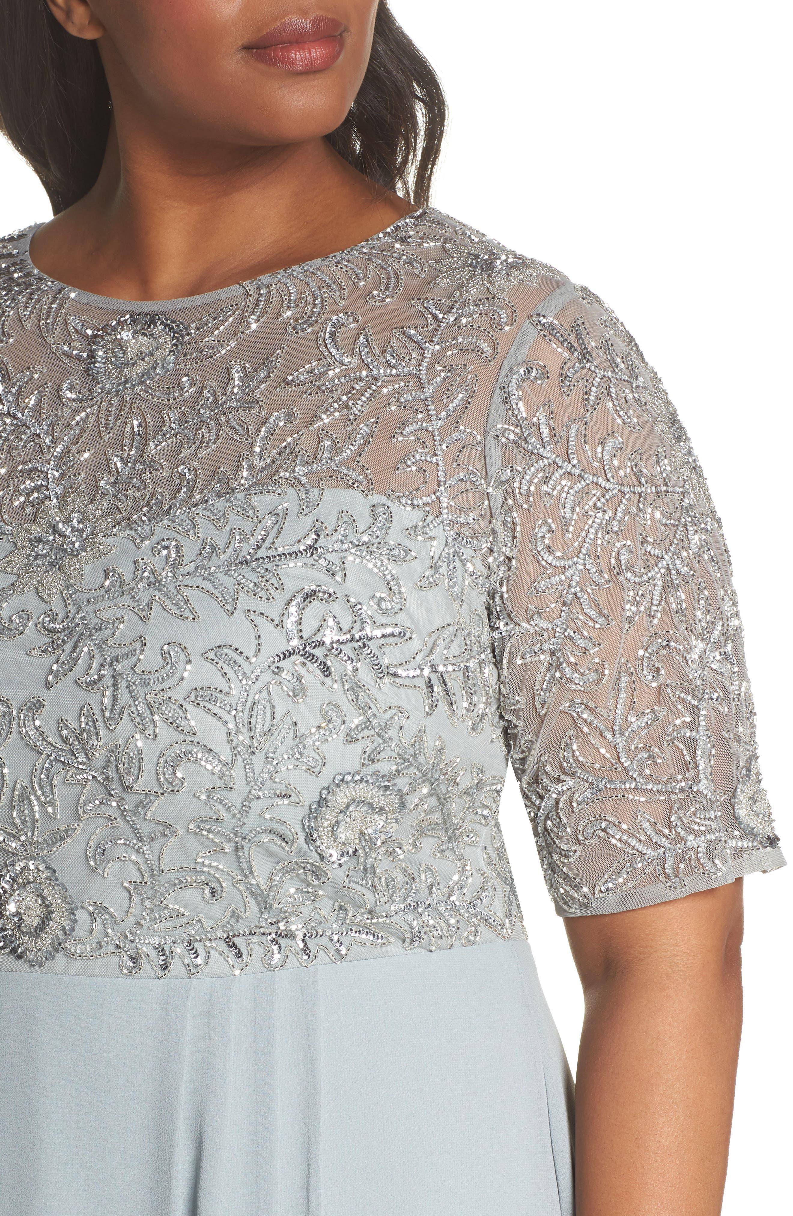 Beaded Midi Dress,                             Alternate thumbnail 4, color,                             484