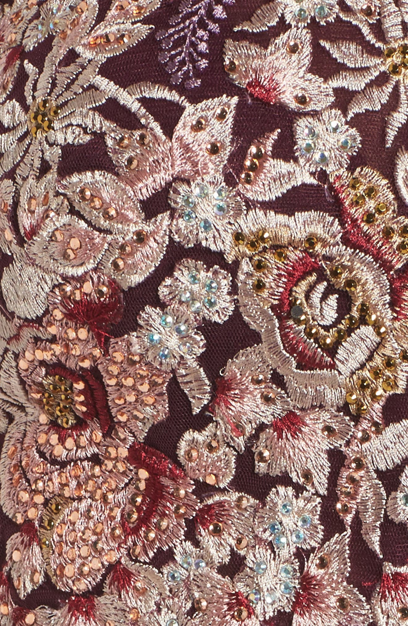Embroidered Two-Piece Gown,                             Alternate thumbnail 5, color,                             WINE