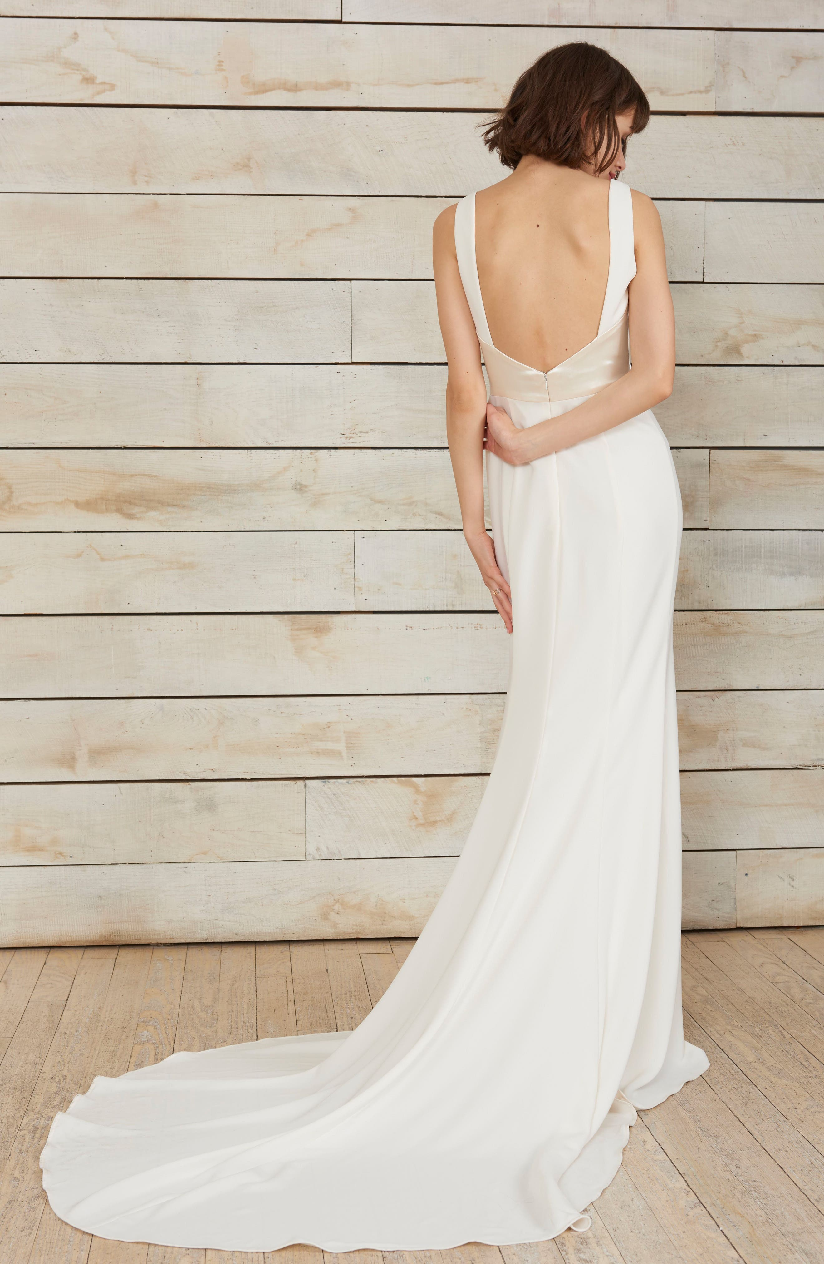 Phillipa High Neck Crepe Gown,                             Alternate thumbnail 2, color,                             IVORY