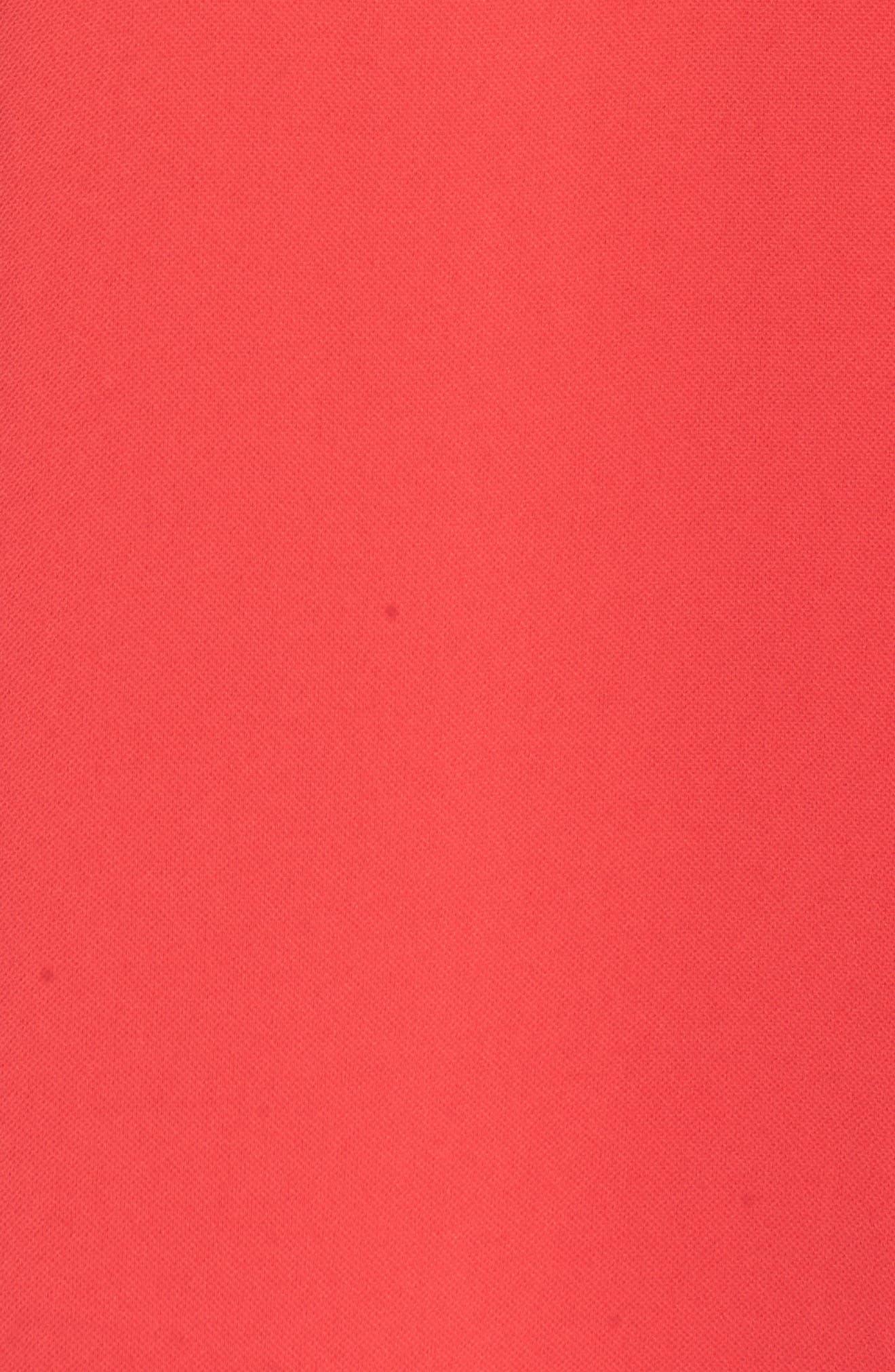 Crepe Ruffle Drape Shift Dress,                             Alternate thumbnail 6, color,                             GERANIUM