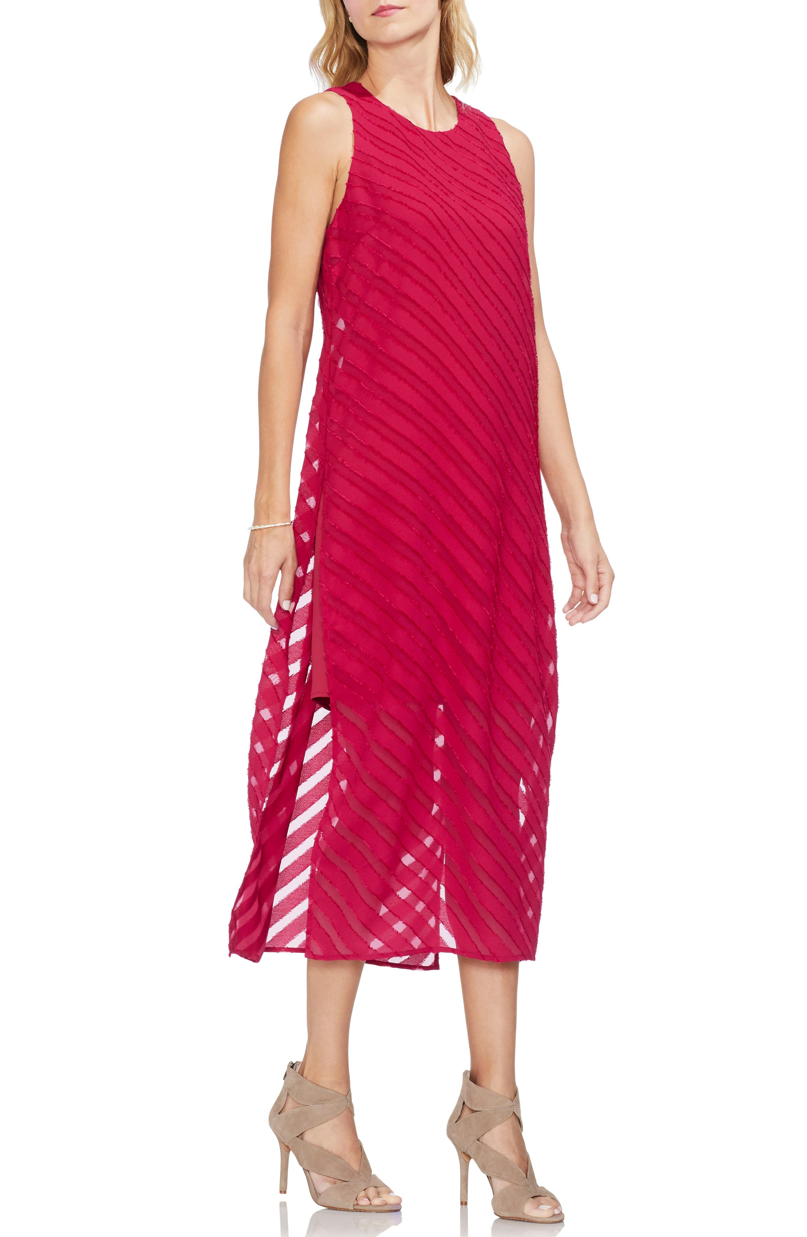 Vince Camuto Diagonal Stripe Chiffon Maxi Dress, Red