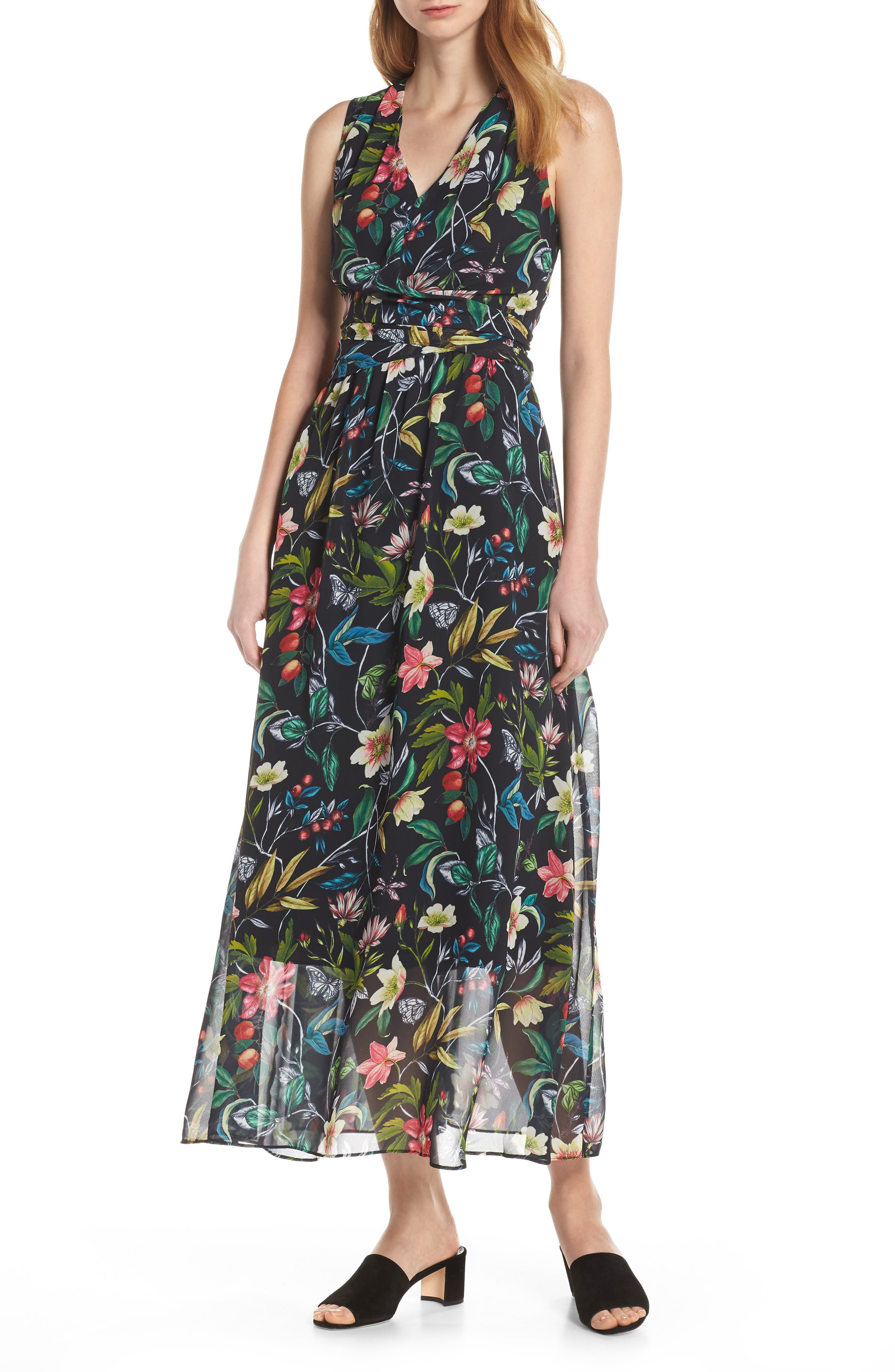 Sam Edelman Floral Maxi Dress, Black