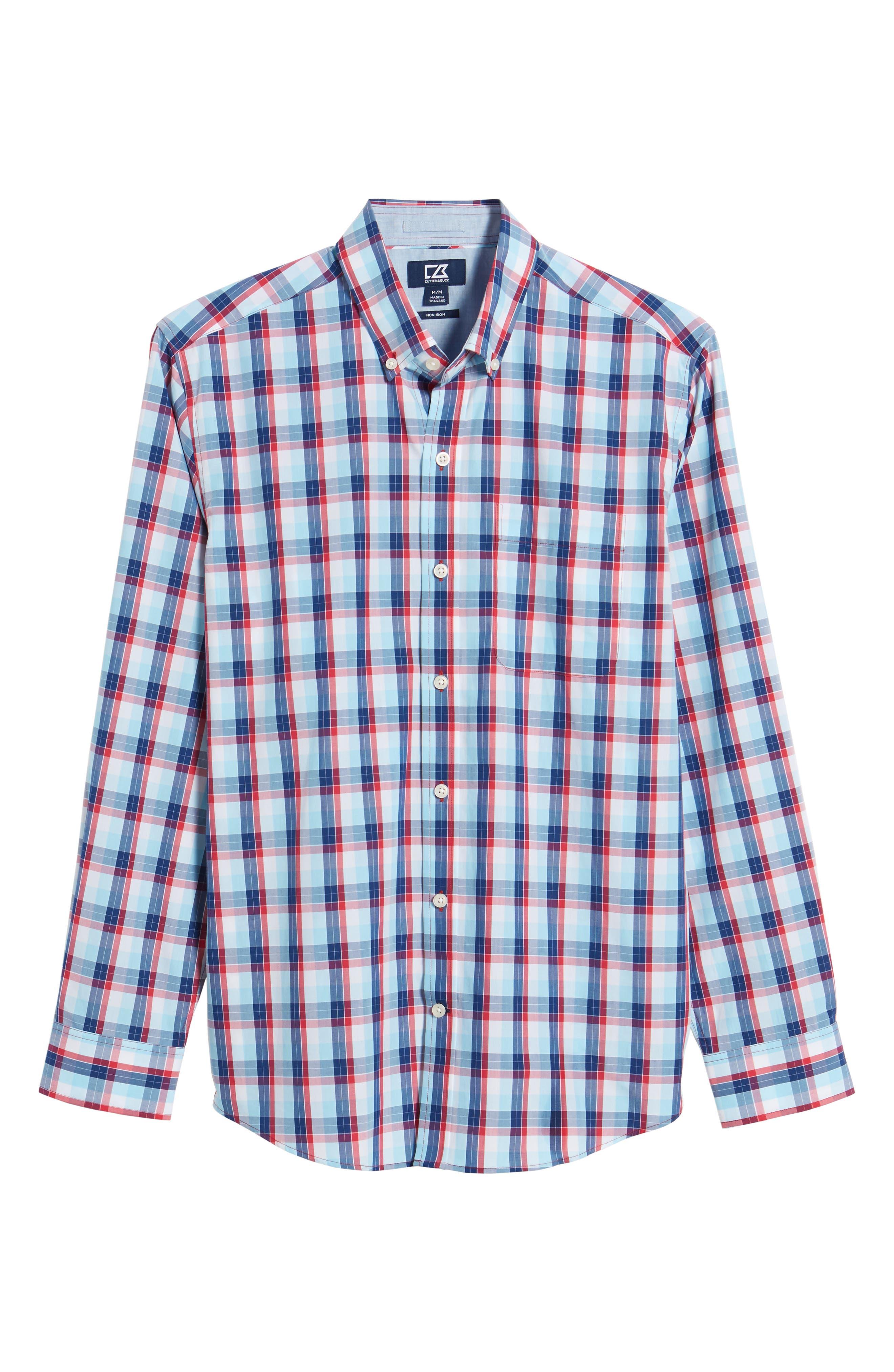Zachary Non-Iron Plaid Sport Shirt,                             Alternate thumbnail 6, color,                             479