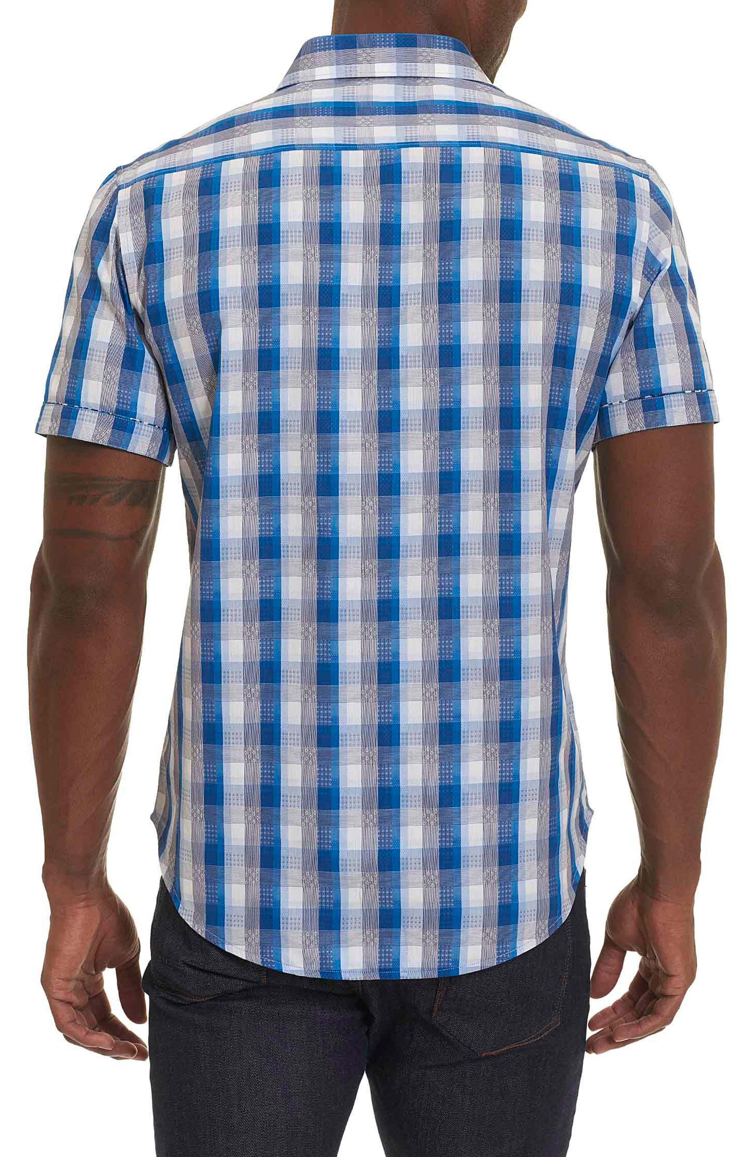 Greenfield Dobby Check Sport Shirt,                             Alternate thumbnail 2, color,                             NAVY