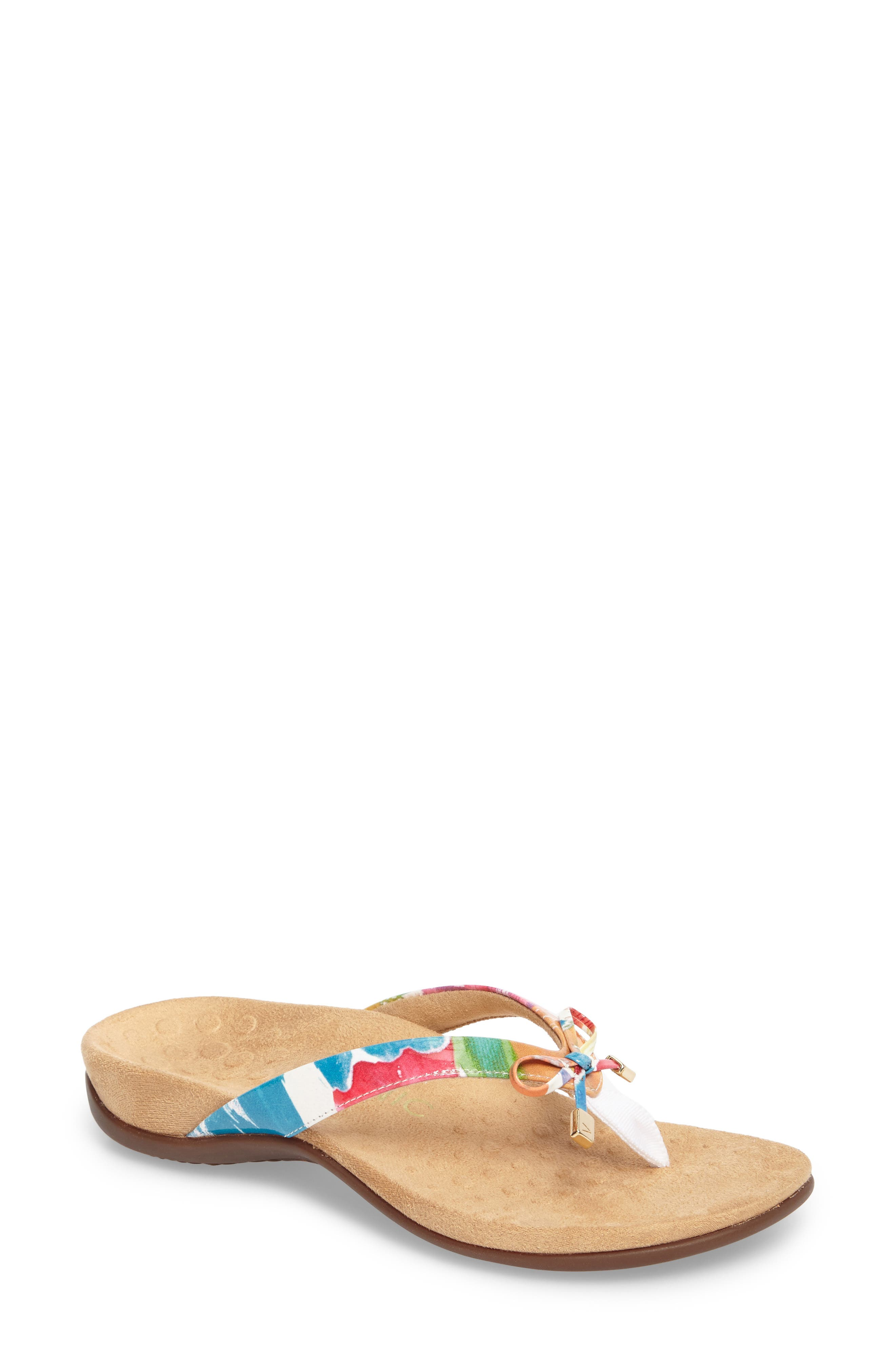 VIONIC 'Bella II' Sandal, Main, color, WHITE FLORAL FAUX LEATHER