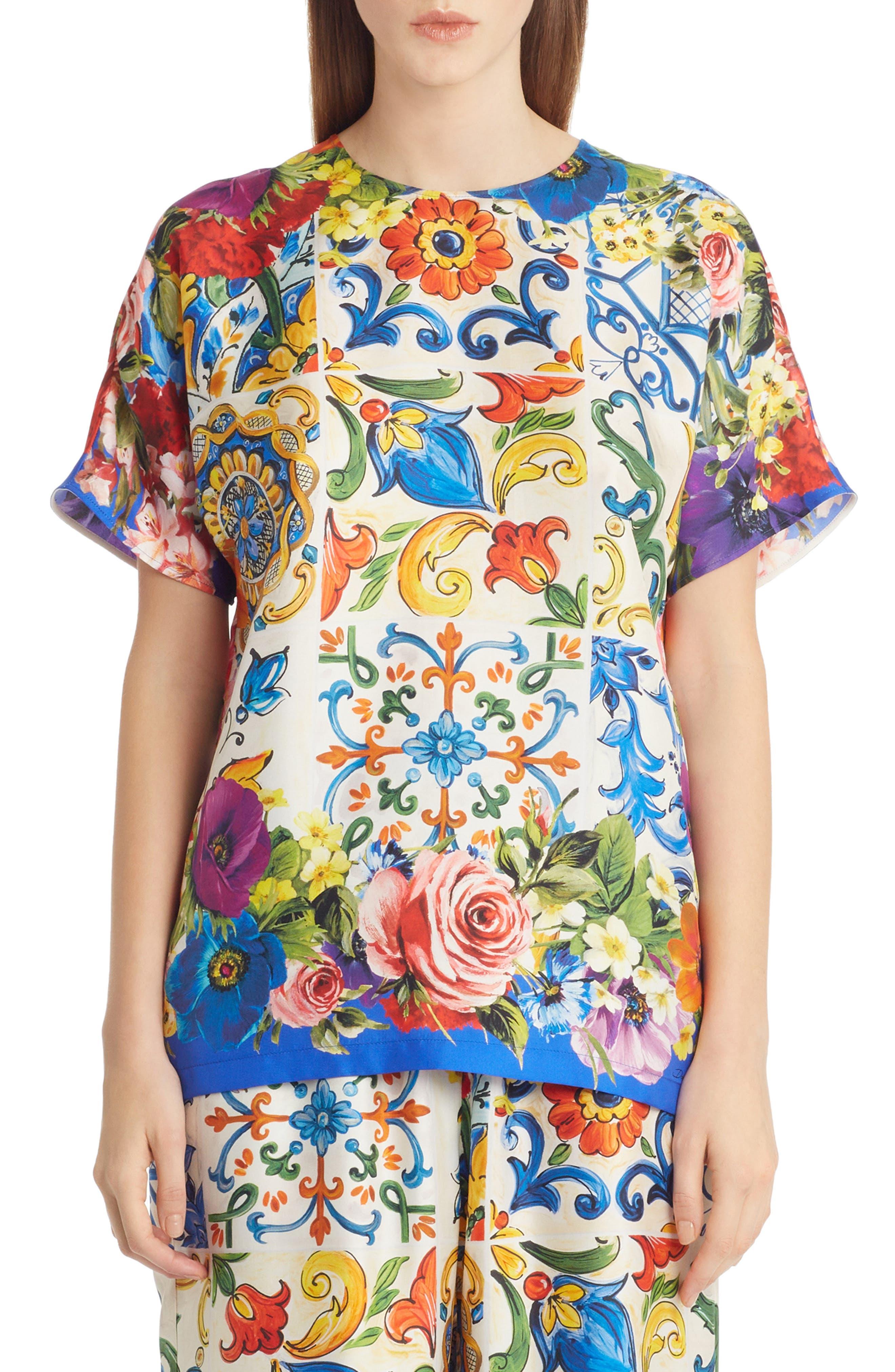 Tile Print Silk Top,                         Main,                         color, 430