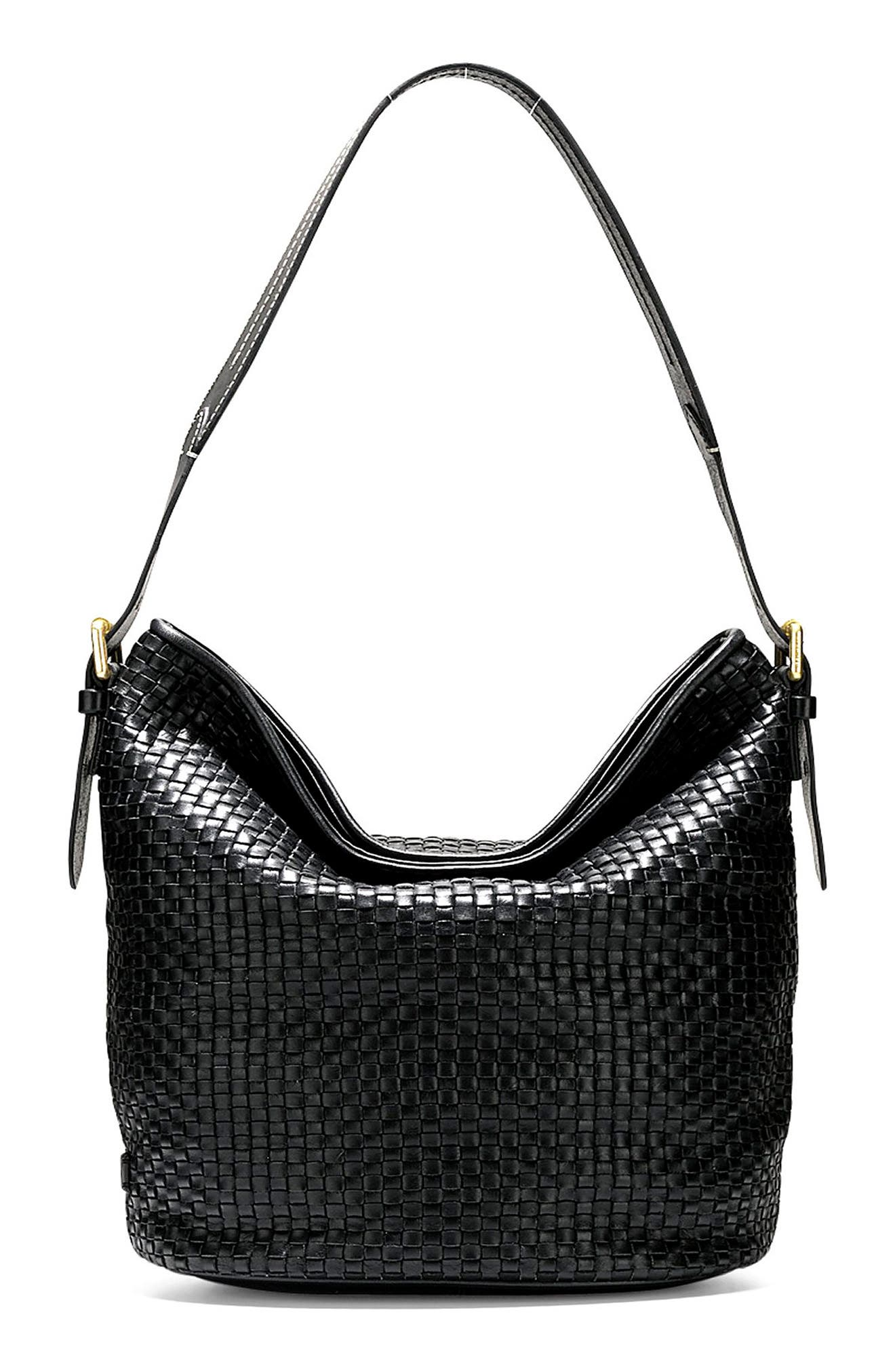 Loralie Woven Leather Bucket Hobo,                         Main,                         color, 001