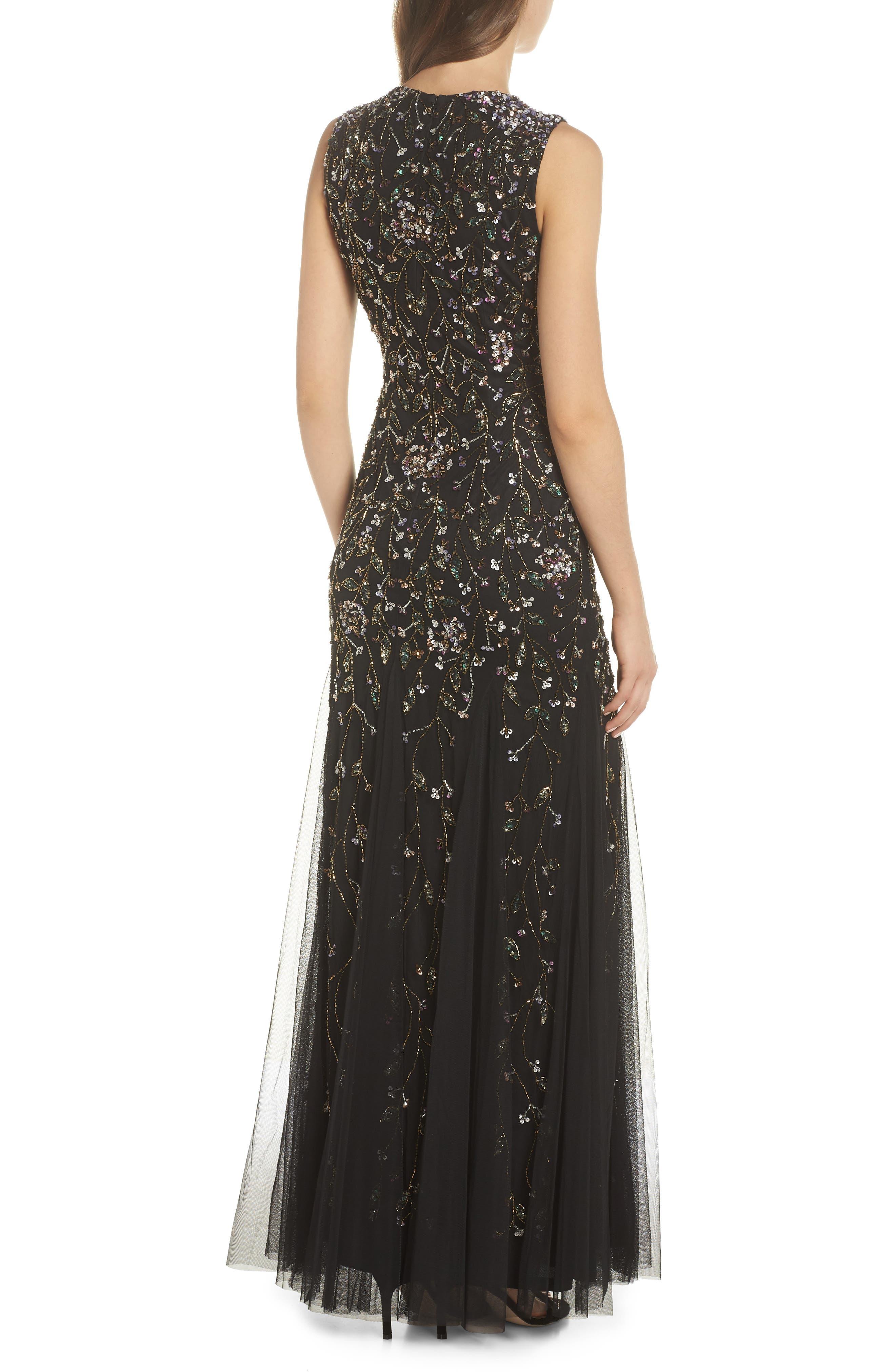 Beaded Gown,                             Alternate thumbnail 2, color,                             BLACK MULTI