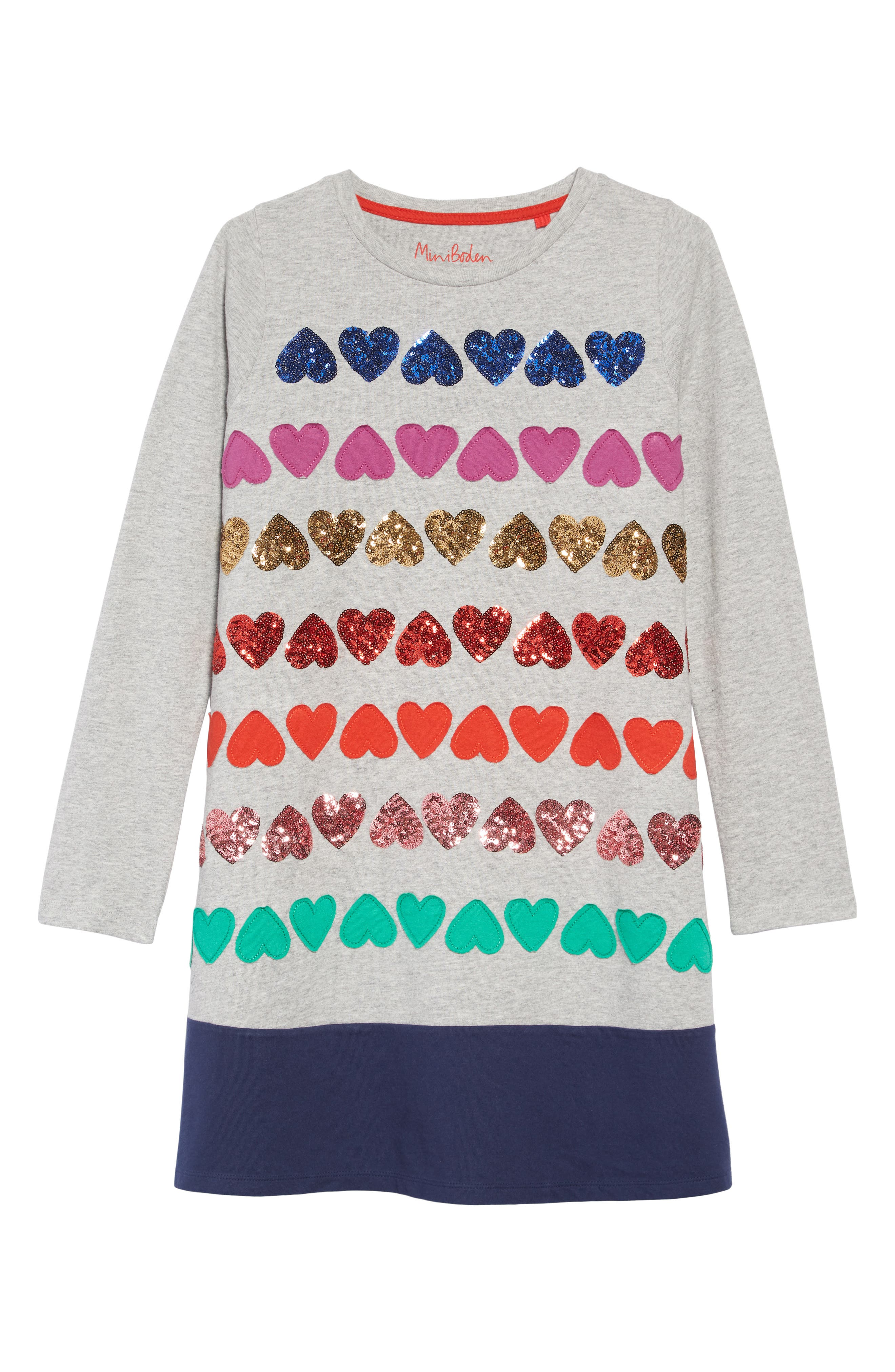 Girls Mini Boden Heart Applique Dress Size 910Y  Grey