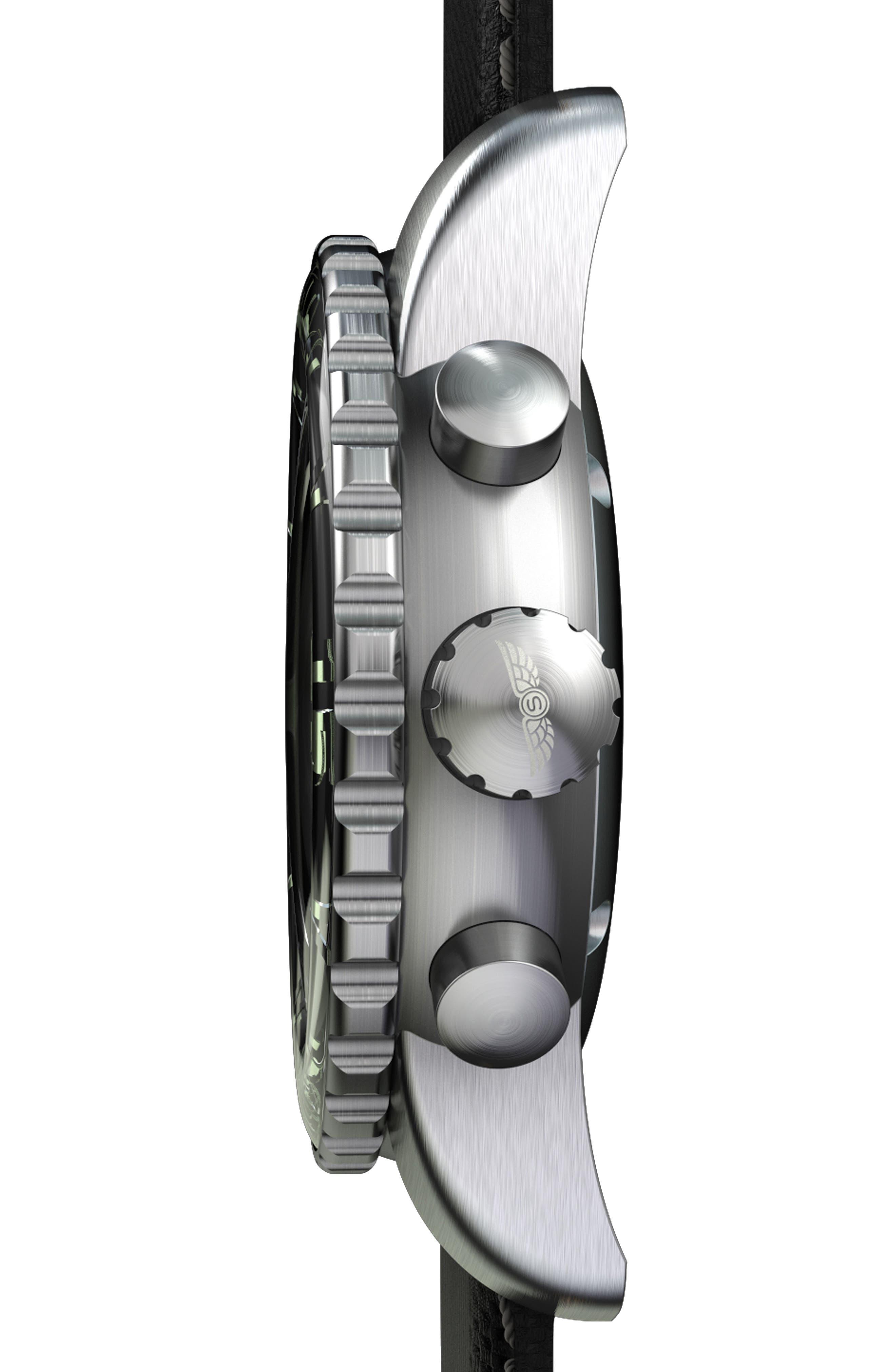 Classic Chronograph Woven Strap Watch, 46mm,                             Alternate thumbnail 3, color,                             BLACK/ BLACK