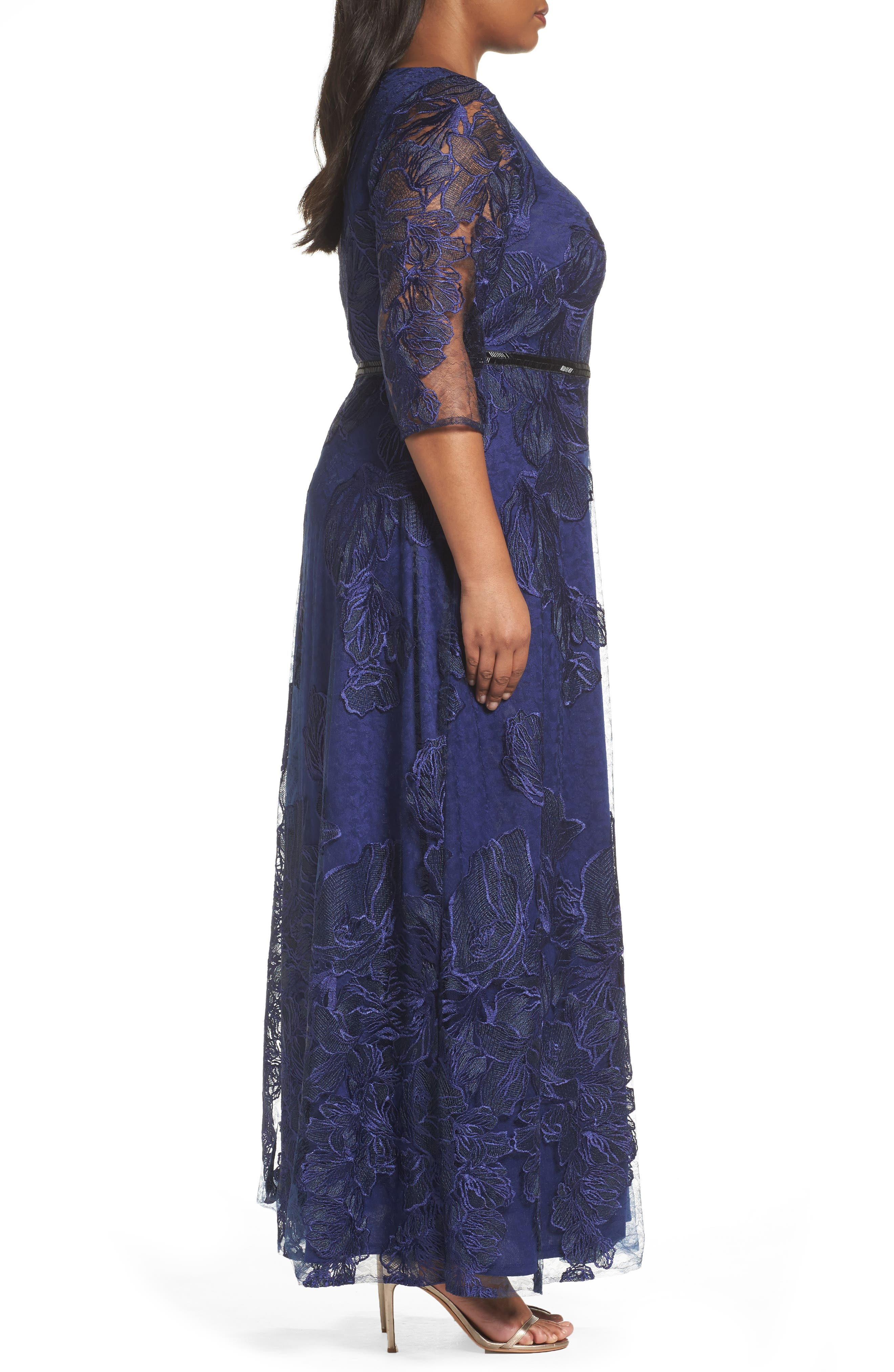Embellished Floral Lace Gown,                             Alternate thumbnail 3, color,                             410