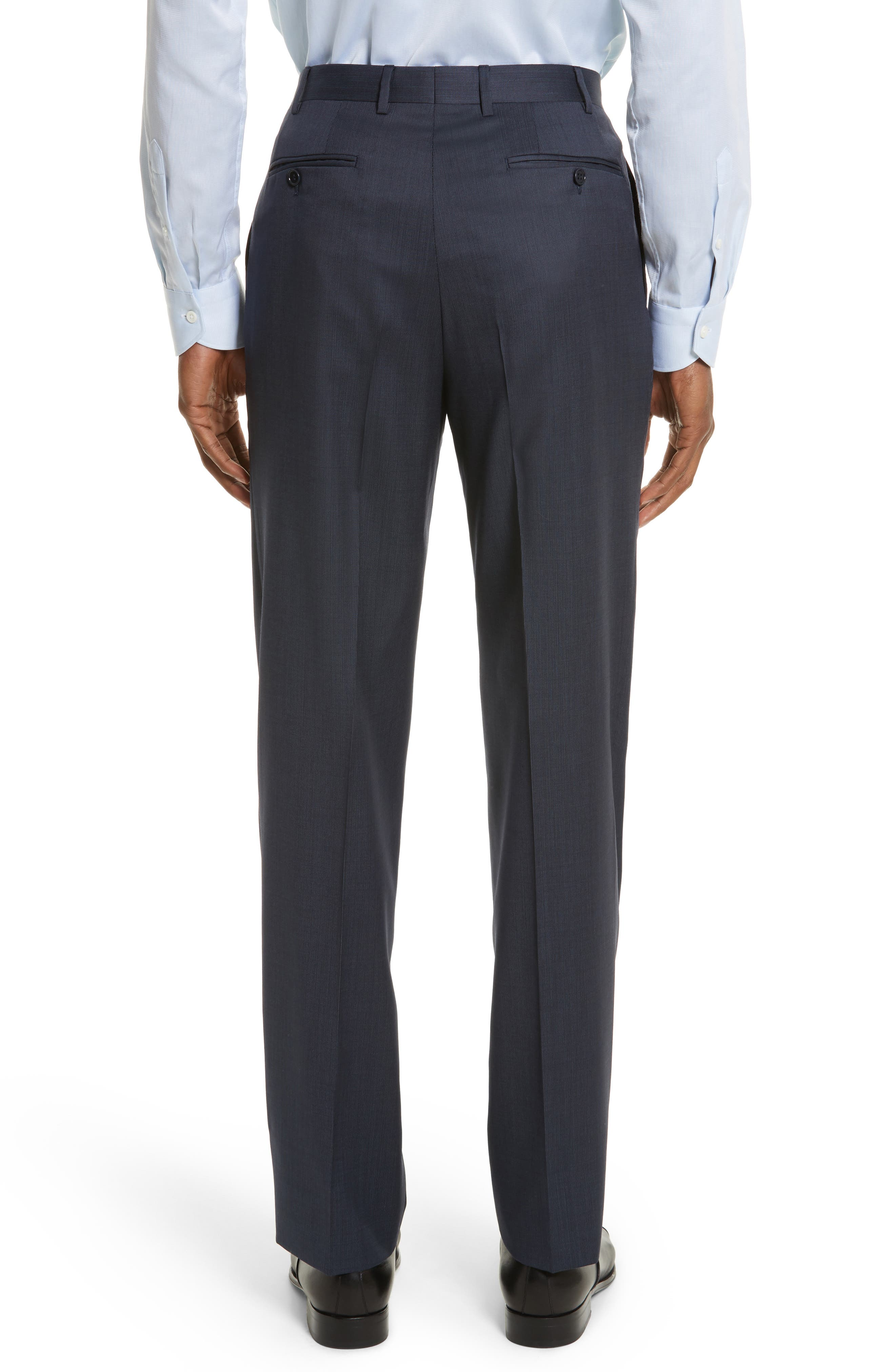 Flat Front Stripe Wool Trousers,                             Alternate thumbnail 11, color,