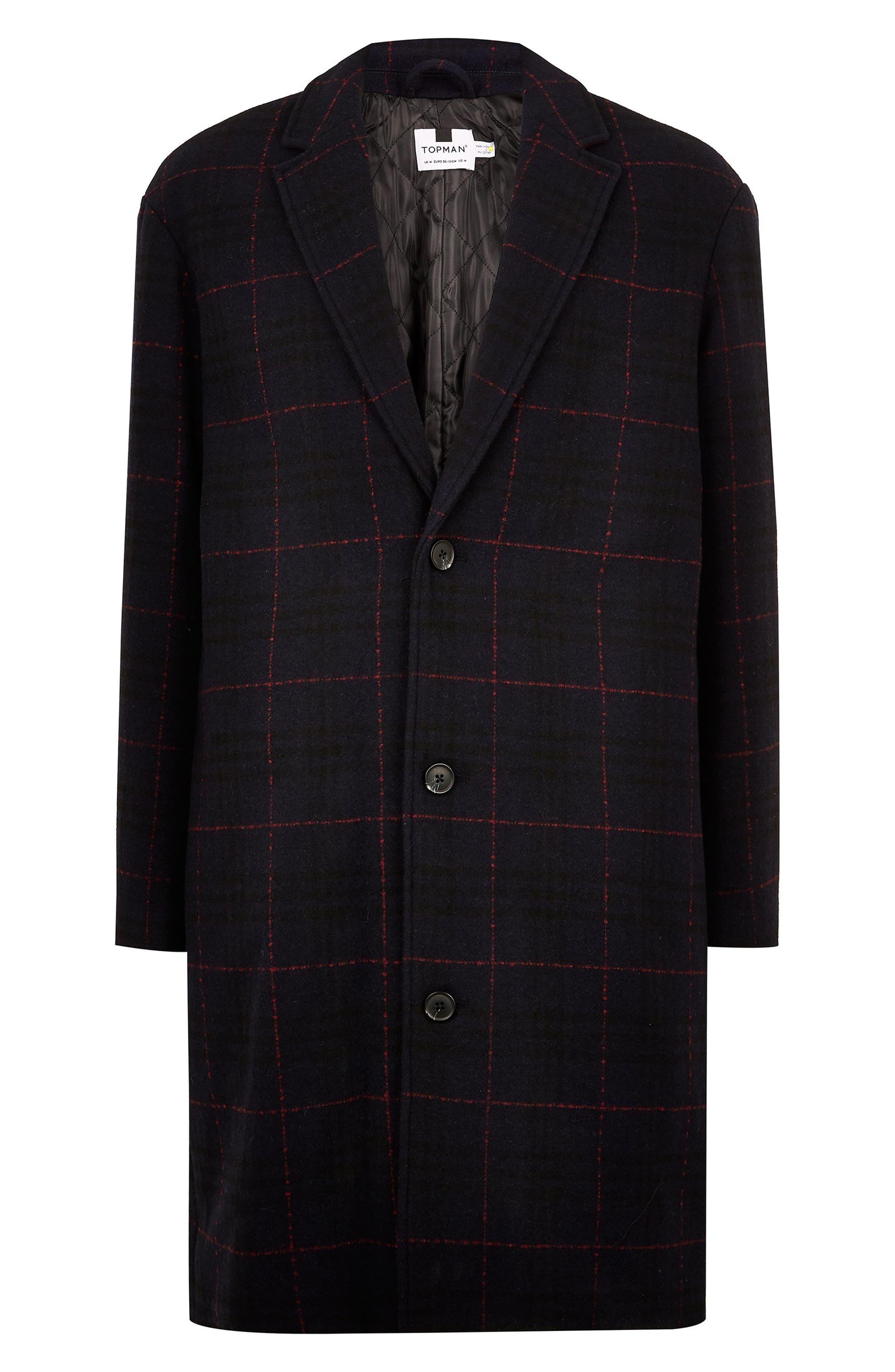TOPMAN,                             Hadyn Oversize Check Print Overcoat,                             Alternate thumbnail 4, color,                             401
