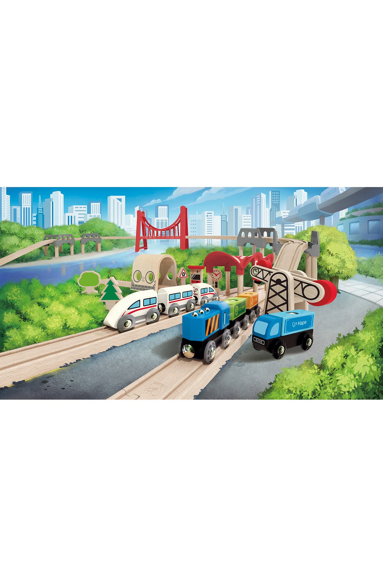 Double Loop Railway Wooden Train Set,                             Alternate thumbnail 6, color,                             250