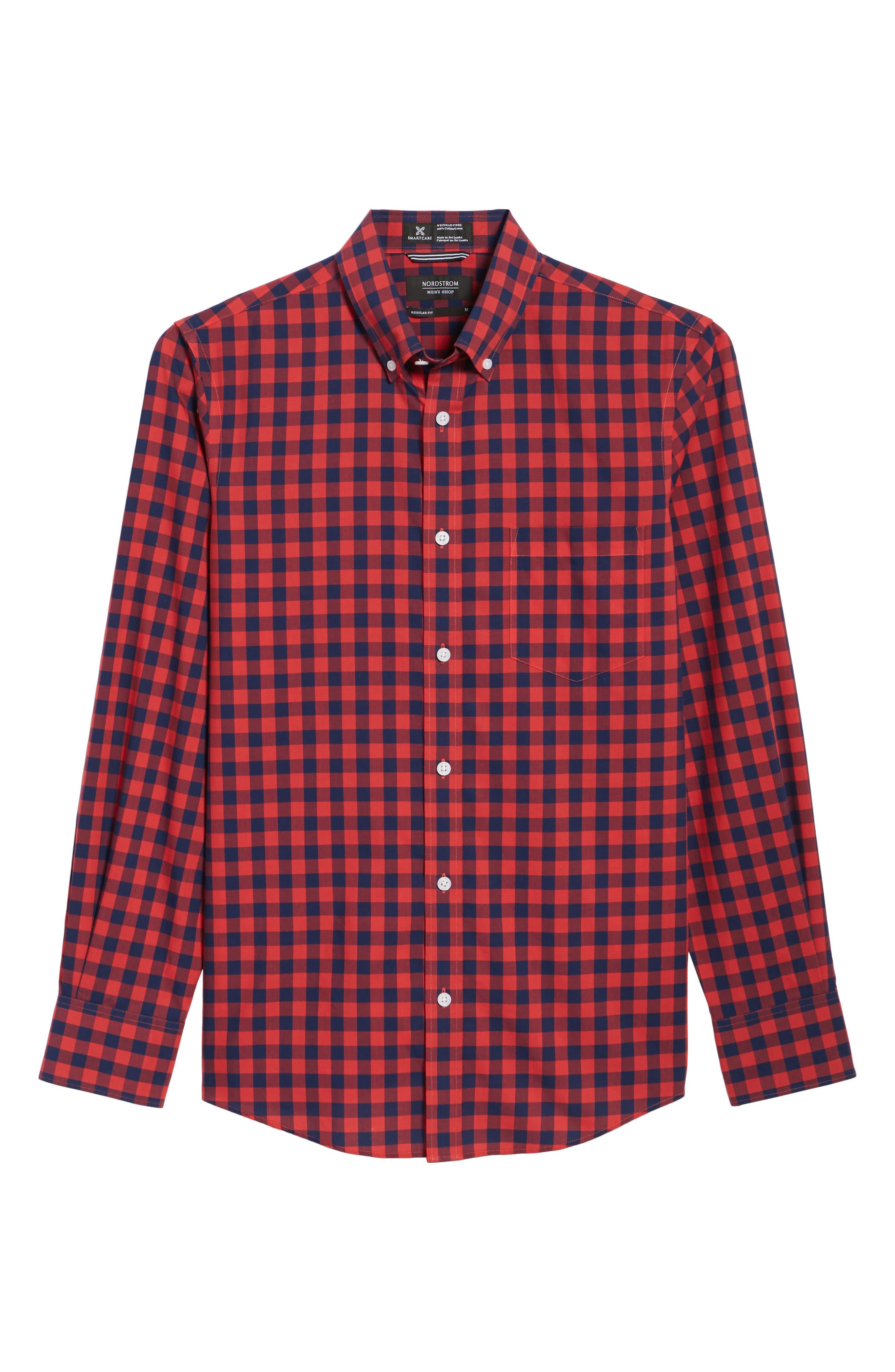 Regular Fit Gingham Sport Shirt,                             Alternate thumbnail 6, color,                             410
