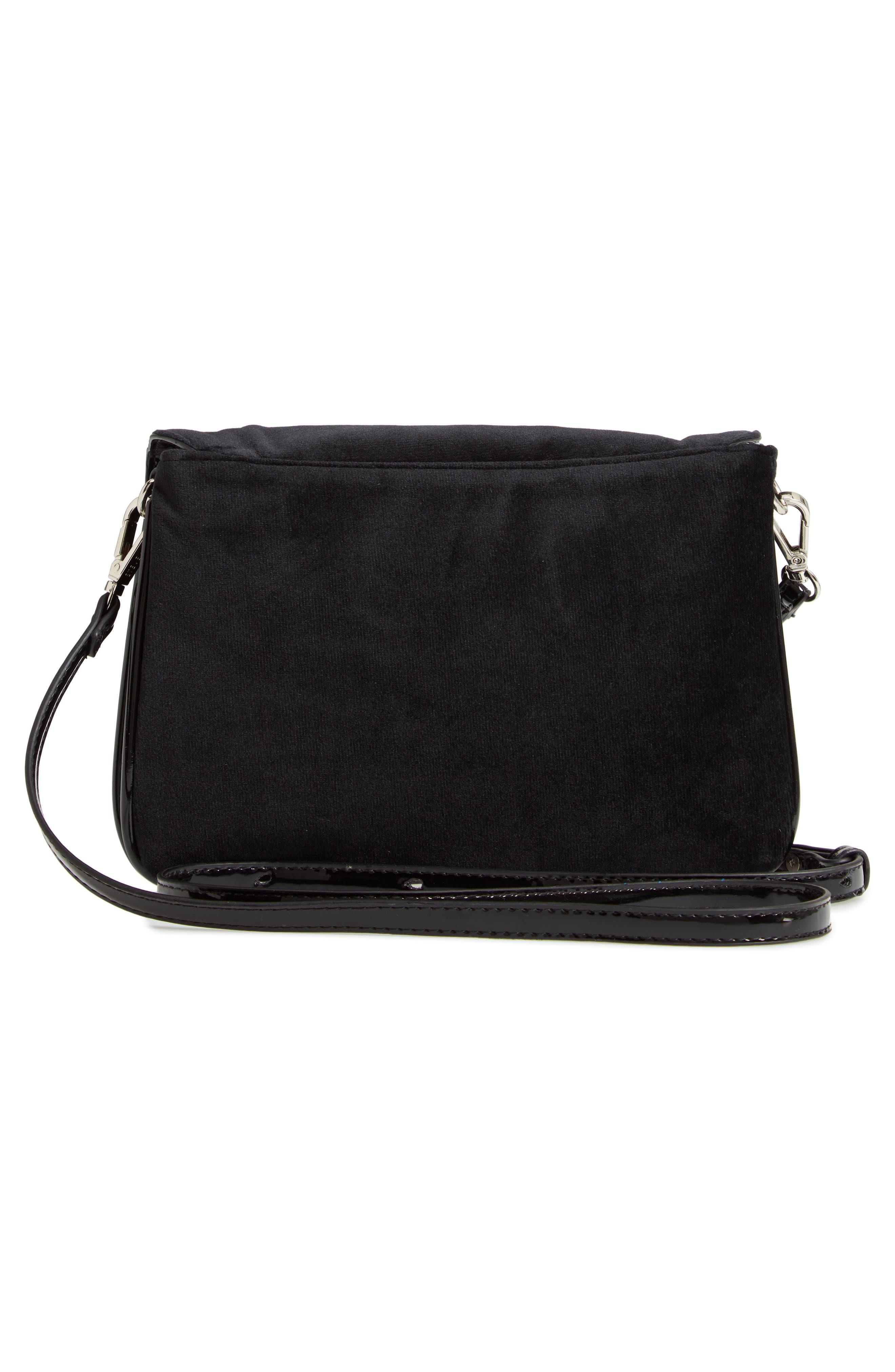 Velvet Crossbody Bag,                             Alternate thumbnail 3, color,                             BLACK