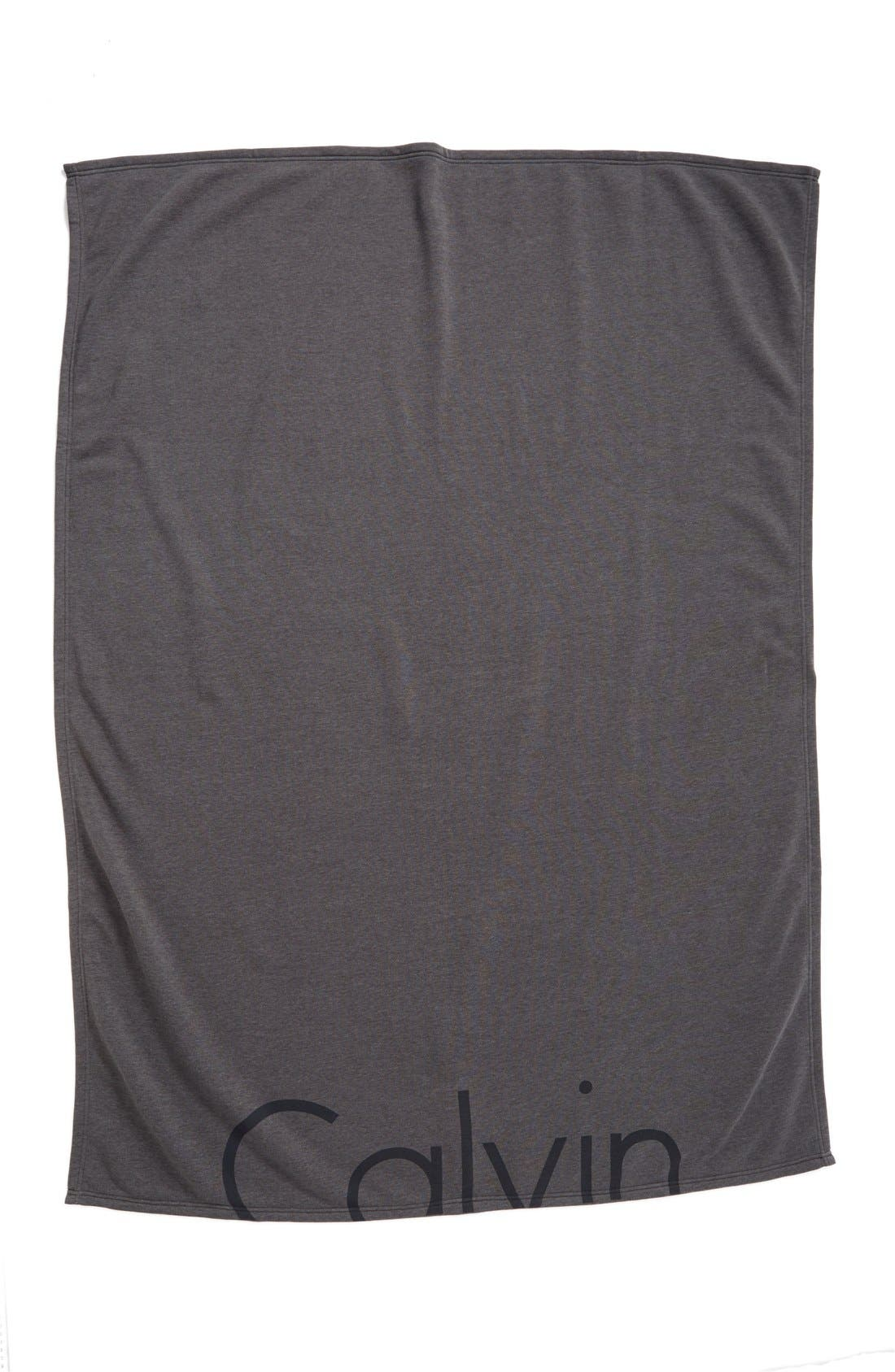 Calvin Klein Logo Throw,                         Main,                         color, CHARCOAL