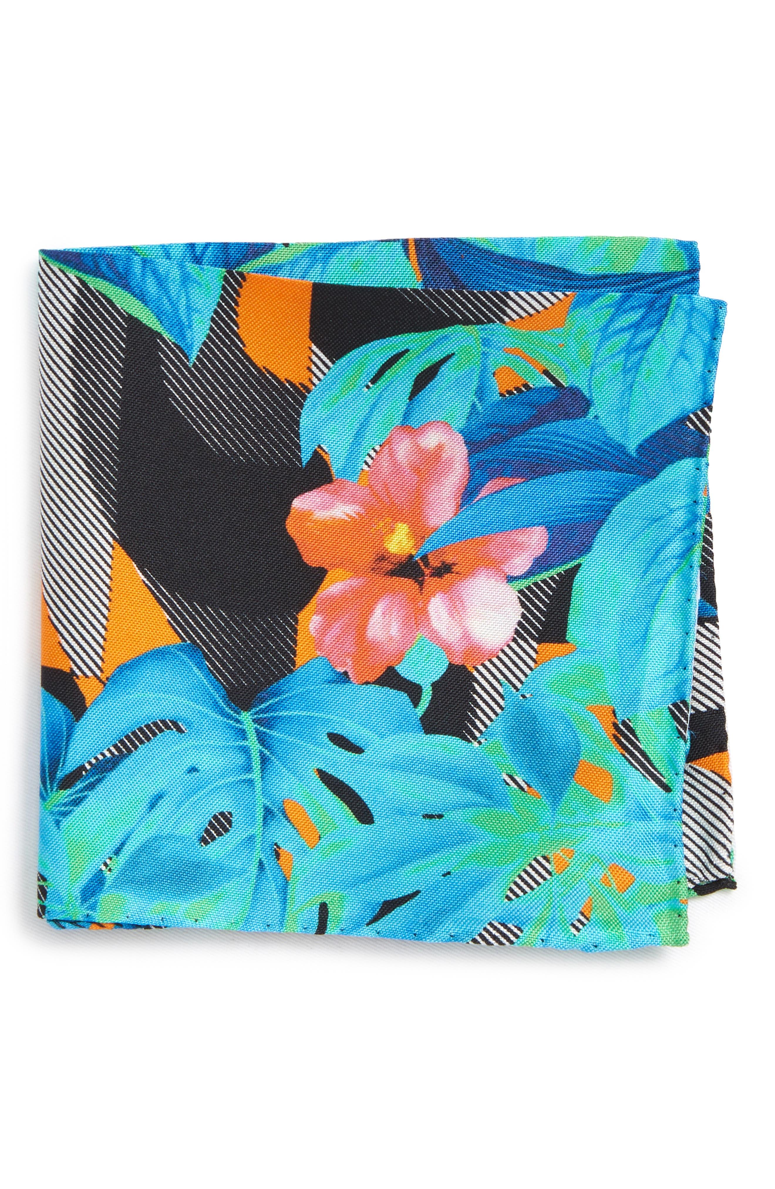 Tropical Floral Silk Pocket Square,                         Main,                         color, 400