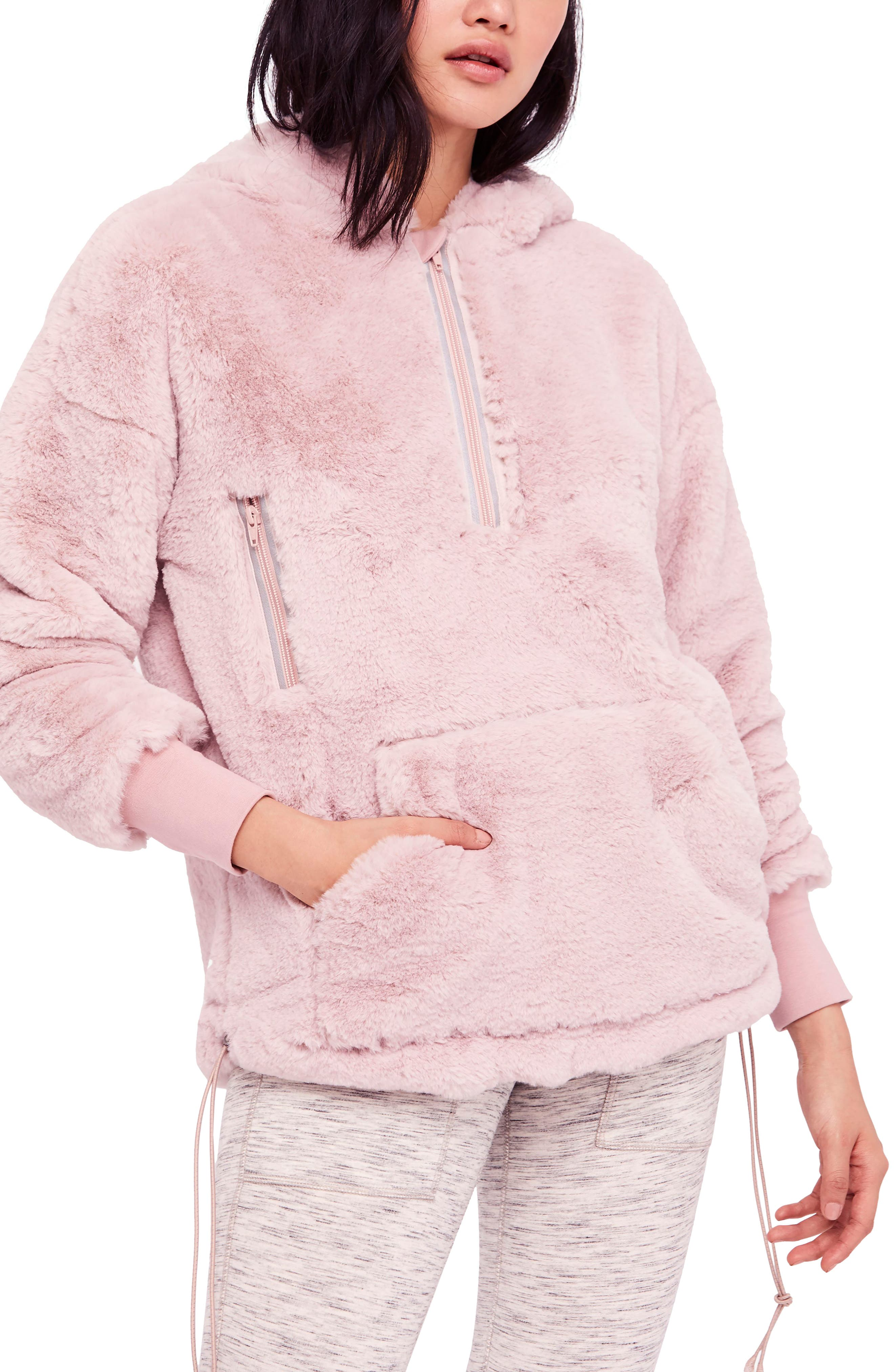 FREE PEOPLE MOVEMENT Free People Fp Movement Off The Record Soft Fleece Hoodie in Taupe
