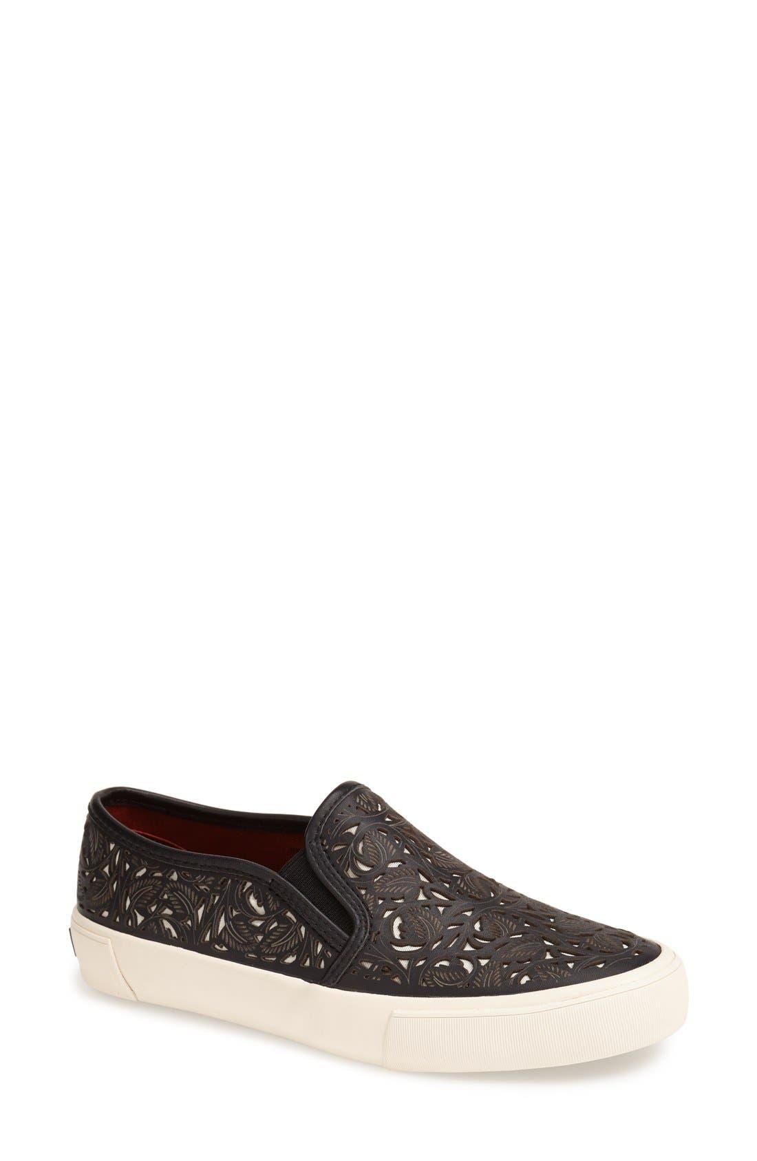 AERIN,                             'Marsden' Perforated Slip-On Sneaker,                             Main thumbnail 1, color,                             001