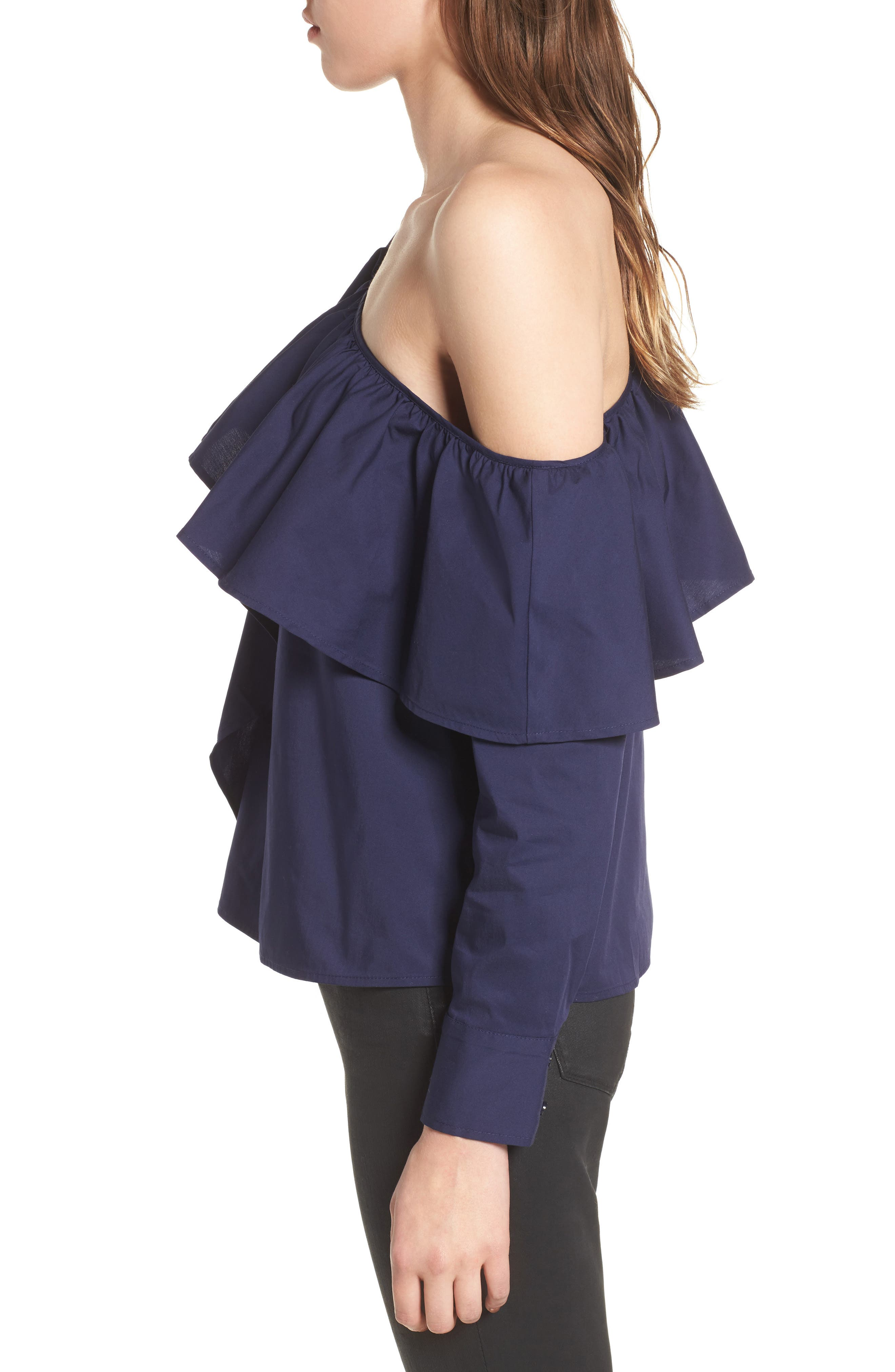 One-Shoulder Ruffle Top,                             Alternate thumbnail 3, color,                             410