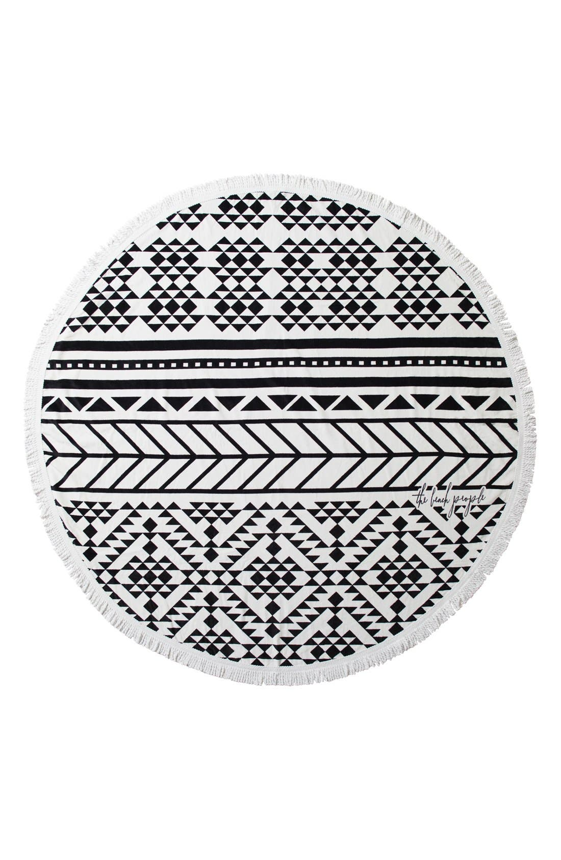 Geometric Print Round Beach Towel,                             Main thumbnail 1, color,                             001