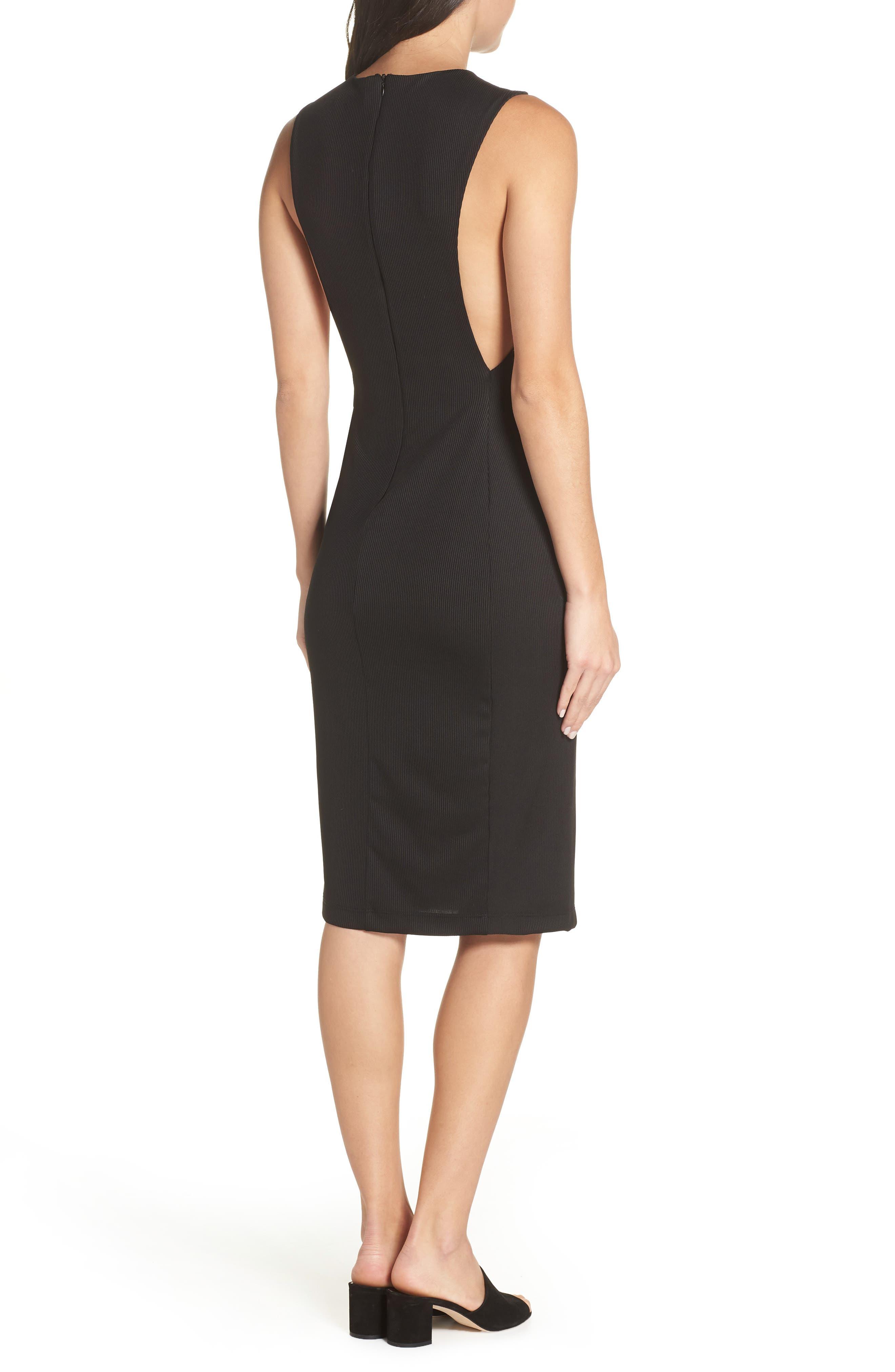 Olya Rib Sheath Dress,                             Alternate thumbnail 2, color,                             BLACK