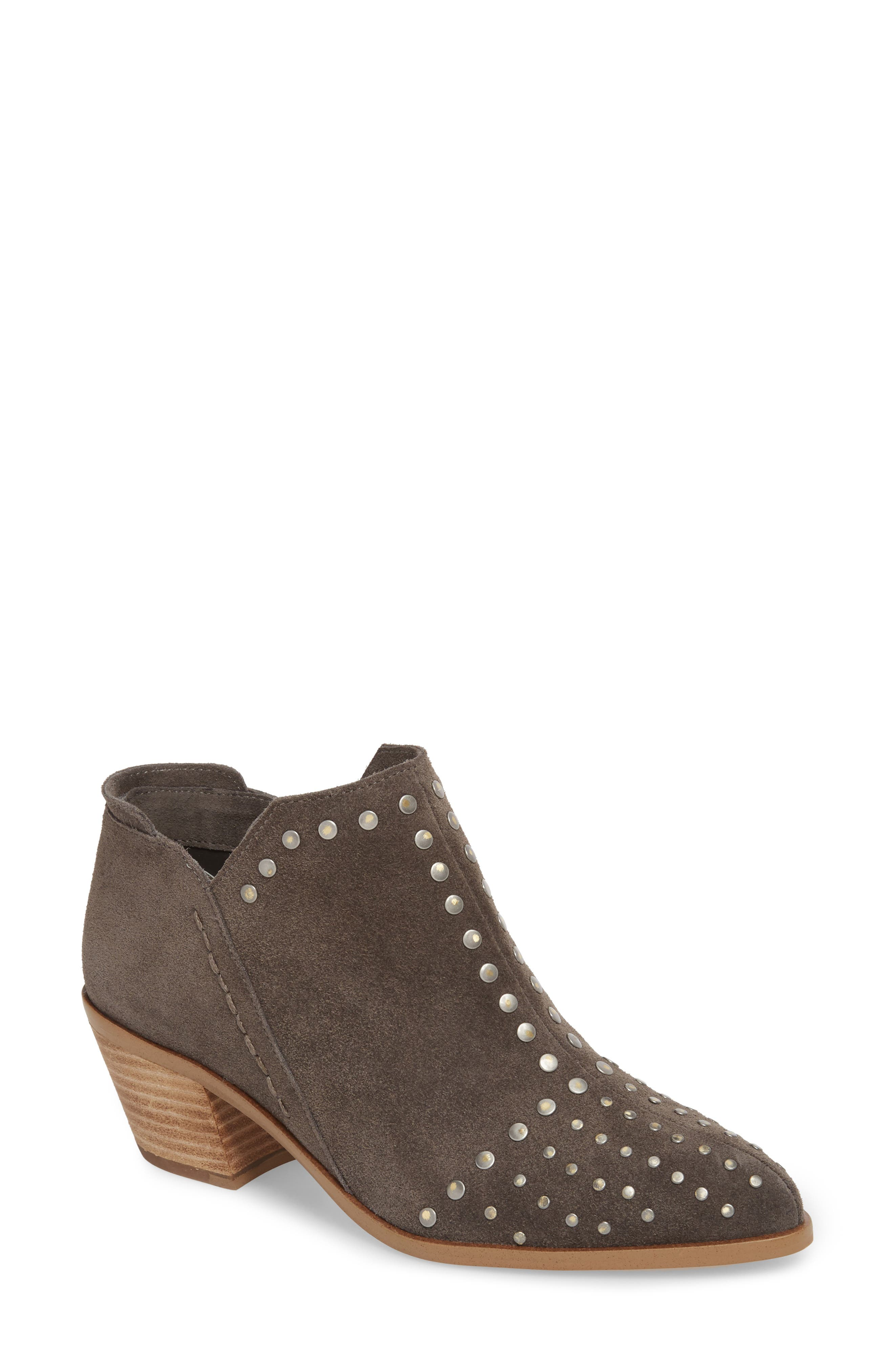 Loka Studded Bootie,                             Main thumbnail 1, color,                             CHARCOAL SUEDE