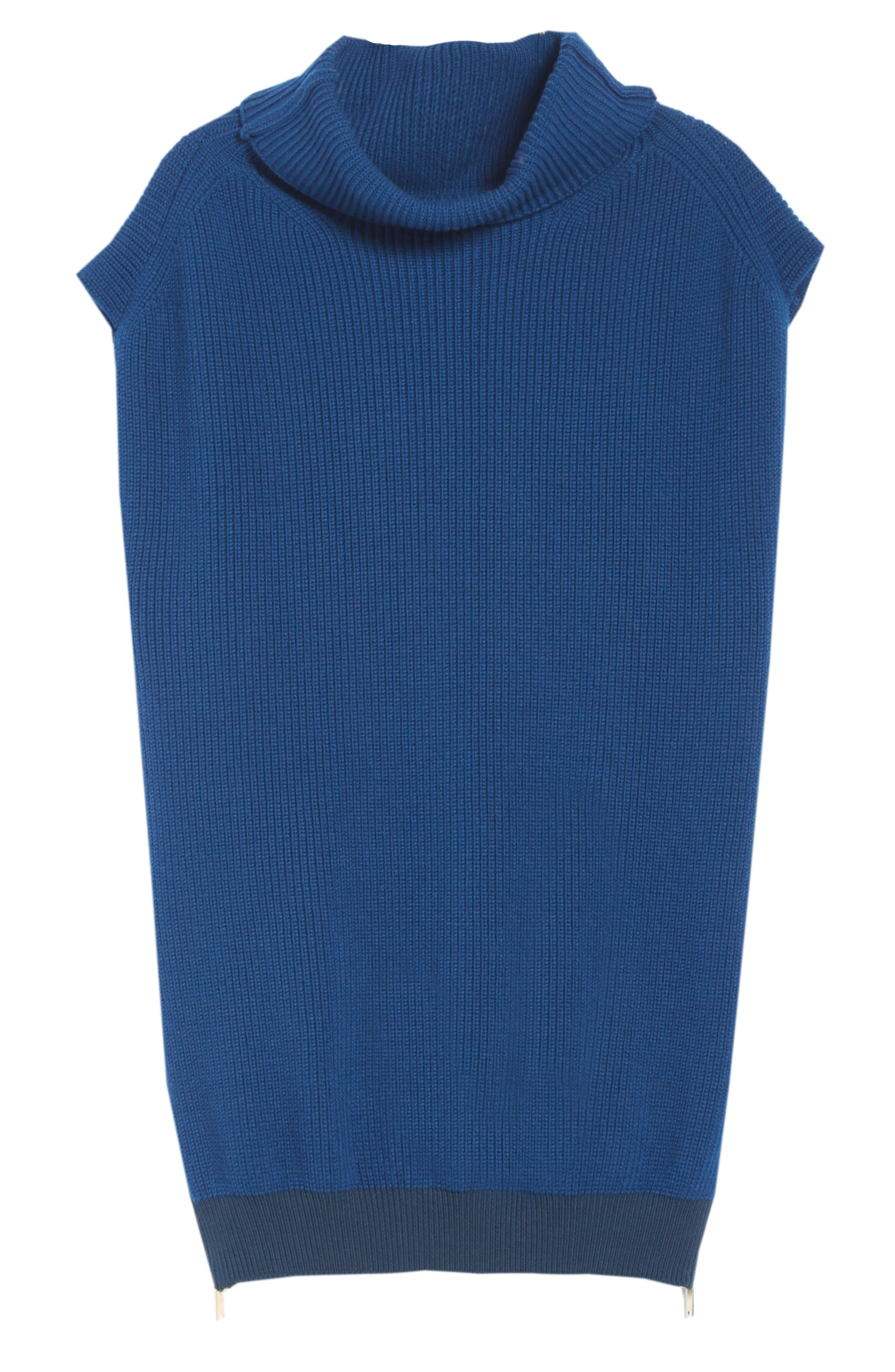 Wool Turtleneck Vest,                             Alternate thumbnail 6, color,                             SHADOW BLUE