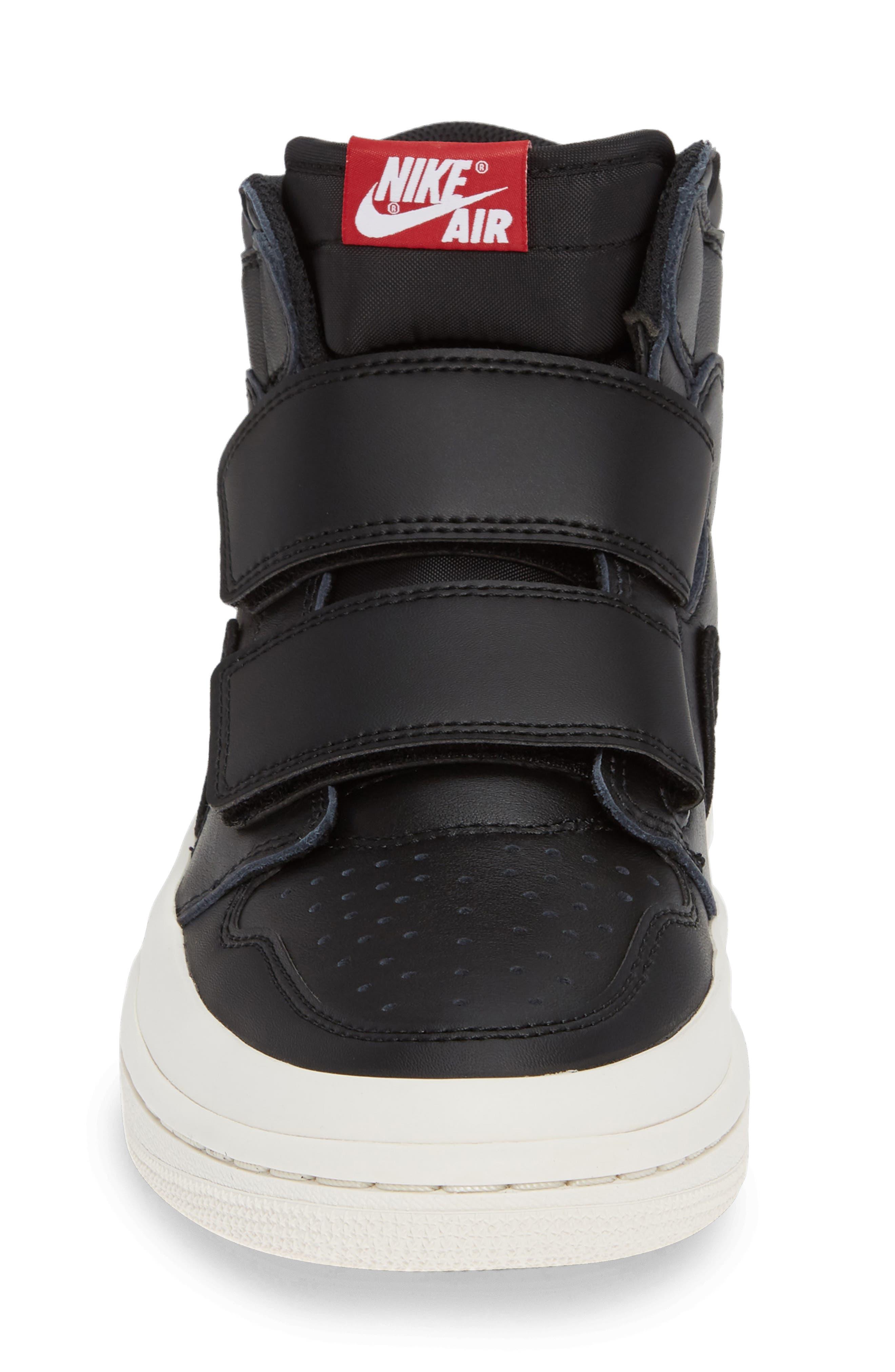 Air Jordan 1 Retro High Double Strap Sneaker,                             Alternate thumbnail 4, color,                             BLACK/ GYM RED