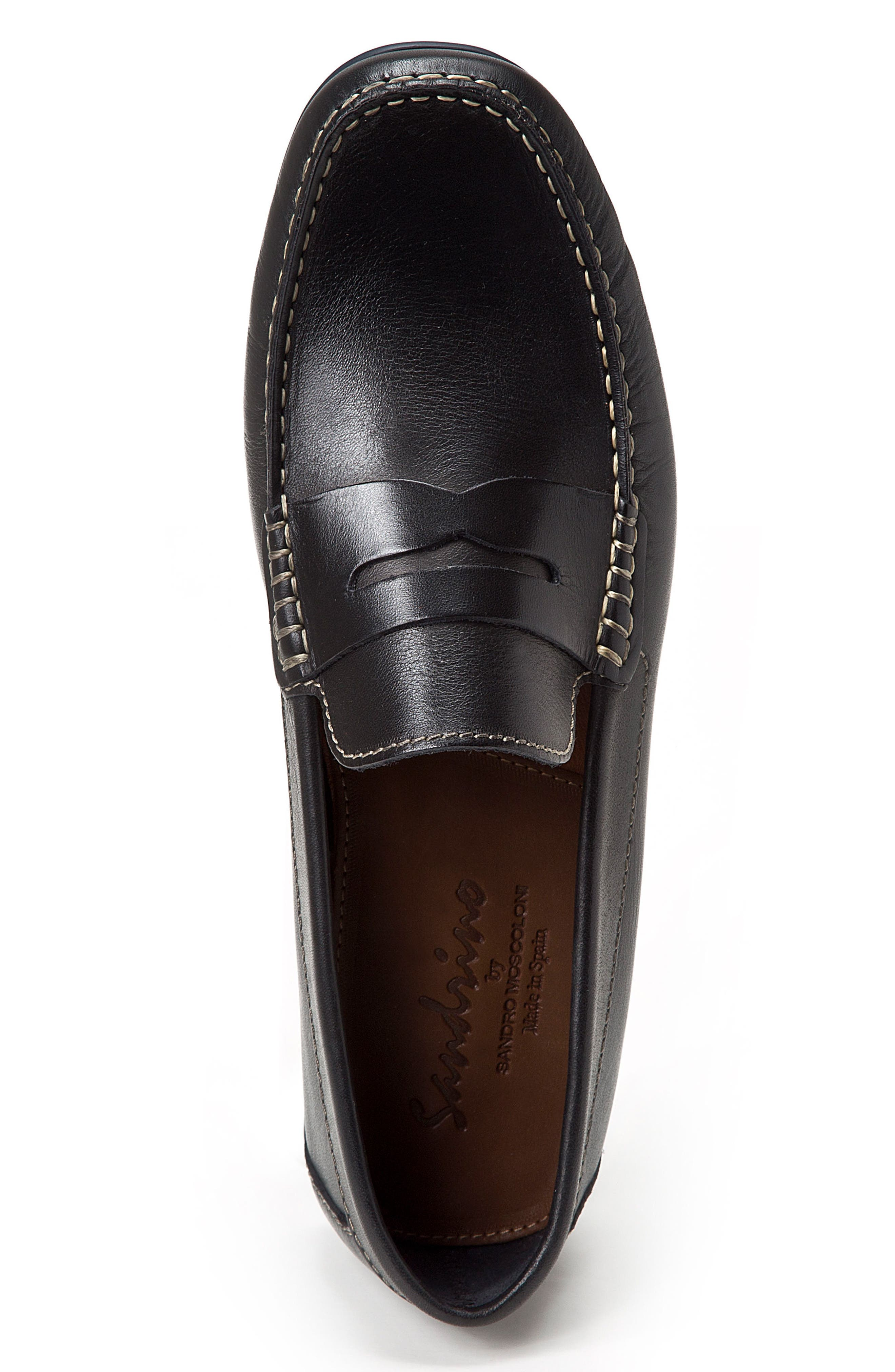 Paco Penny Loafer,                             Alternate thumbnail 3, color,                             BLACK LEATHER