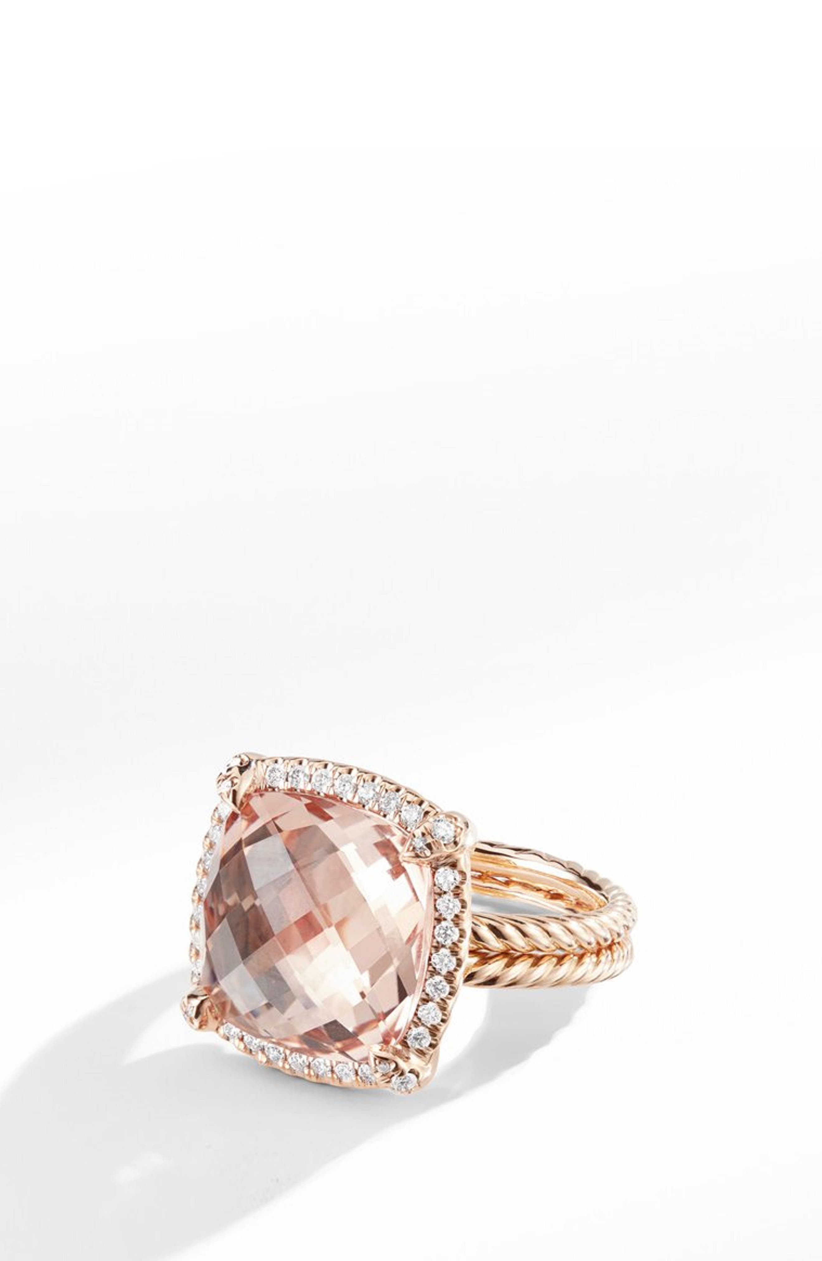 Chatelaine Pavé Bezel Ring in 18K Rose Gold with Morganite,                             Main thumbnail 1, color,                             ROSE GOLD/ DIAMOND/ MORGANITE