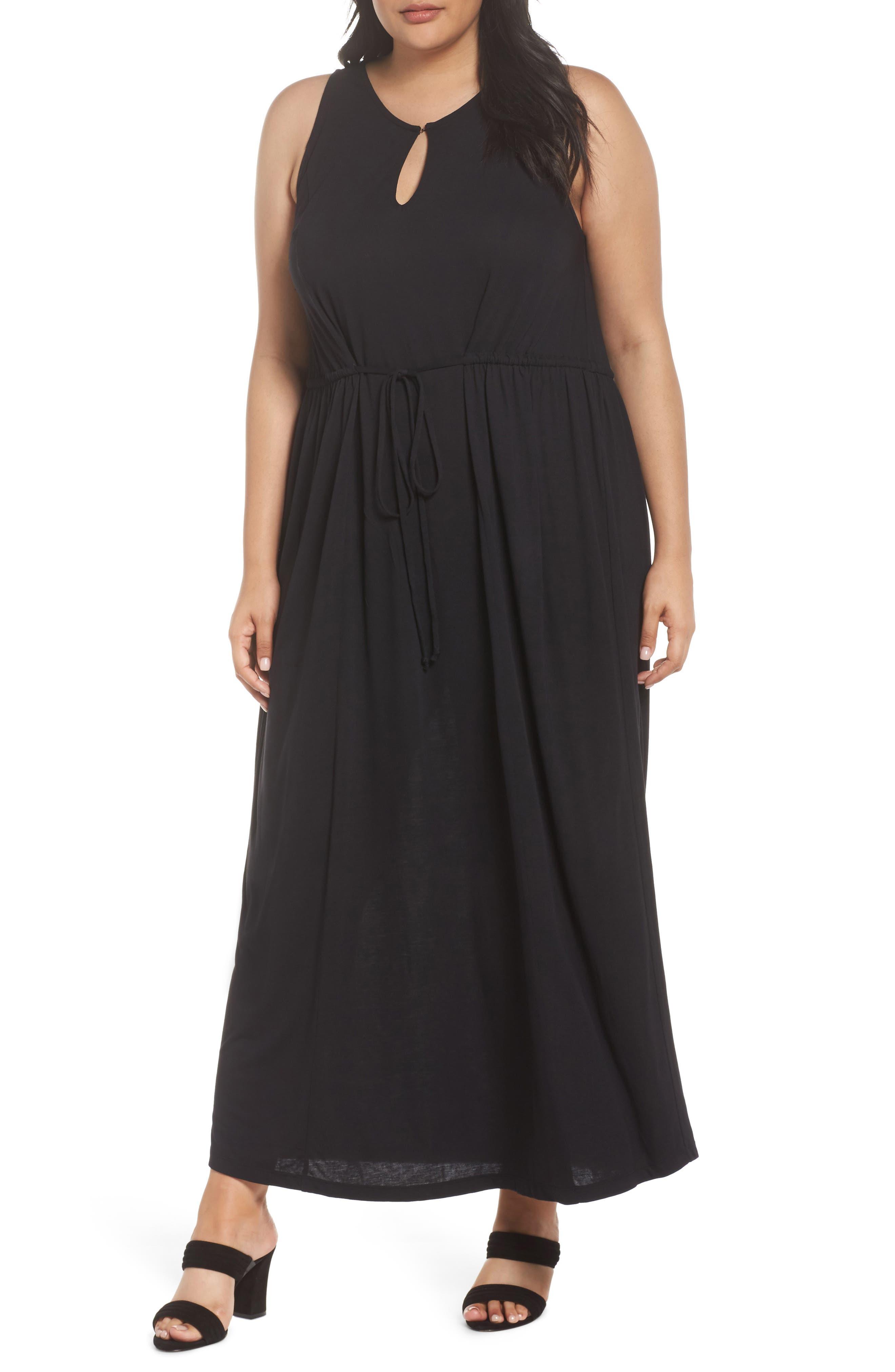 Tie Waist Maxi Dress,                             Main thumbnail 1, color,                             001
