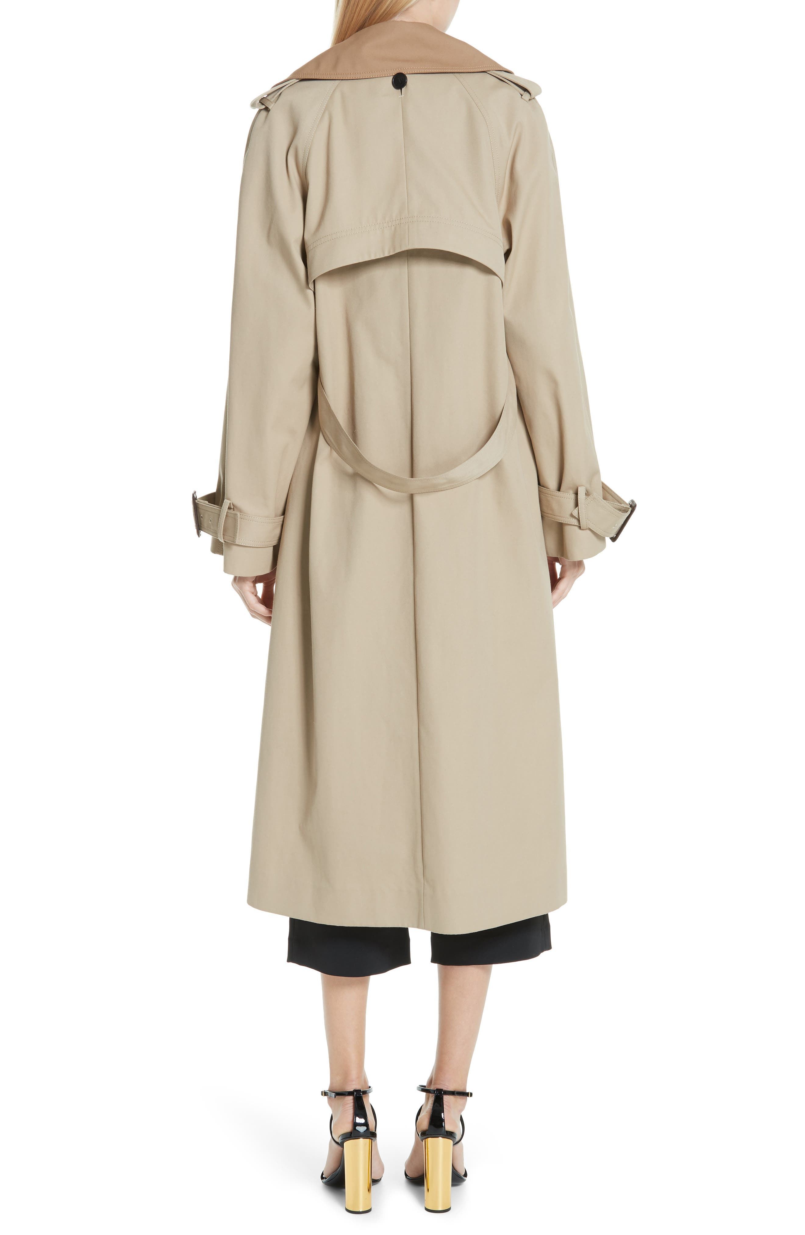 Trench Coat with Vest & Removable Fringe,                             Alternate thumbnail 3, color,                             KHAKI/ TAN